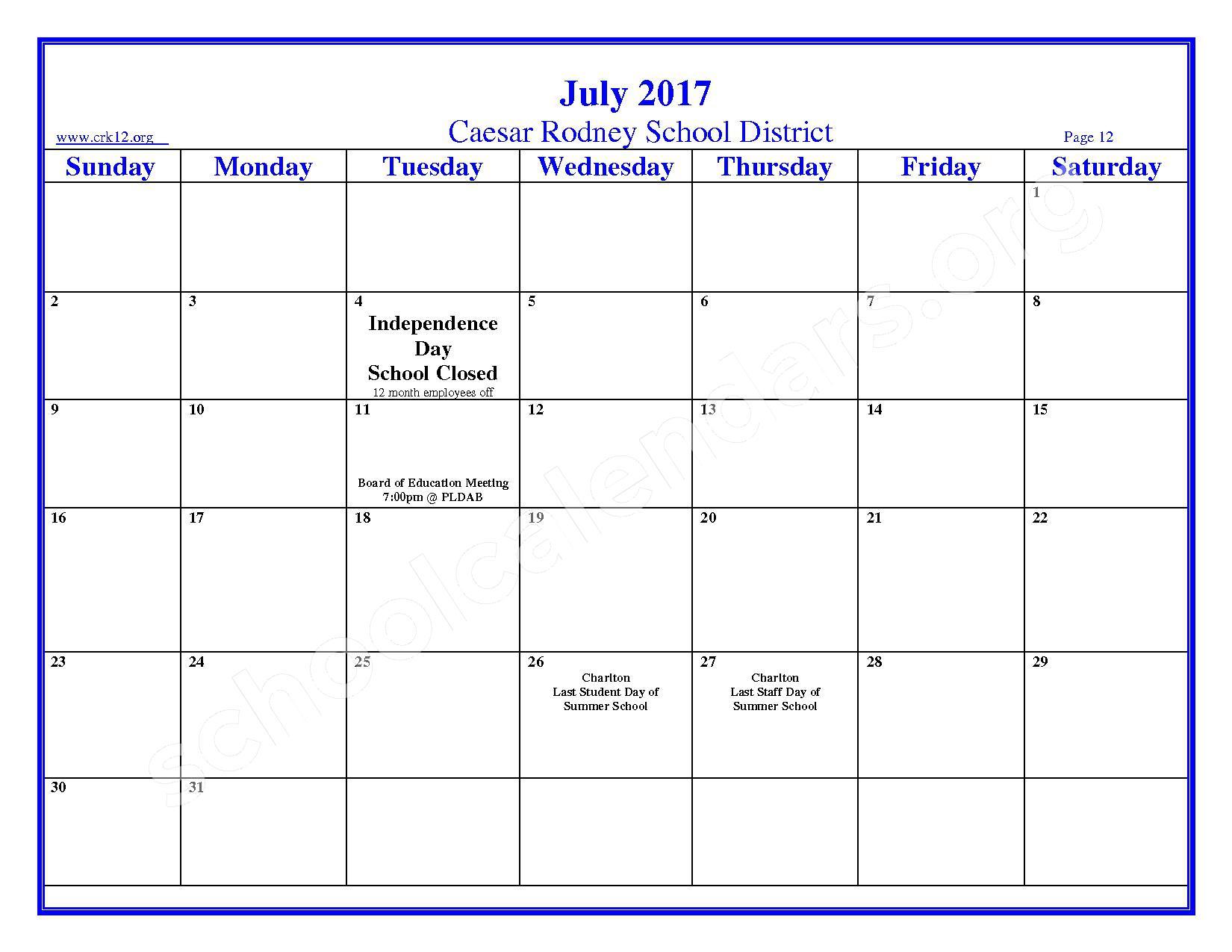 2016 - 2017 School Calendar – Brown (W. Reily) Elementary School – page 12