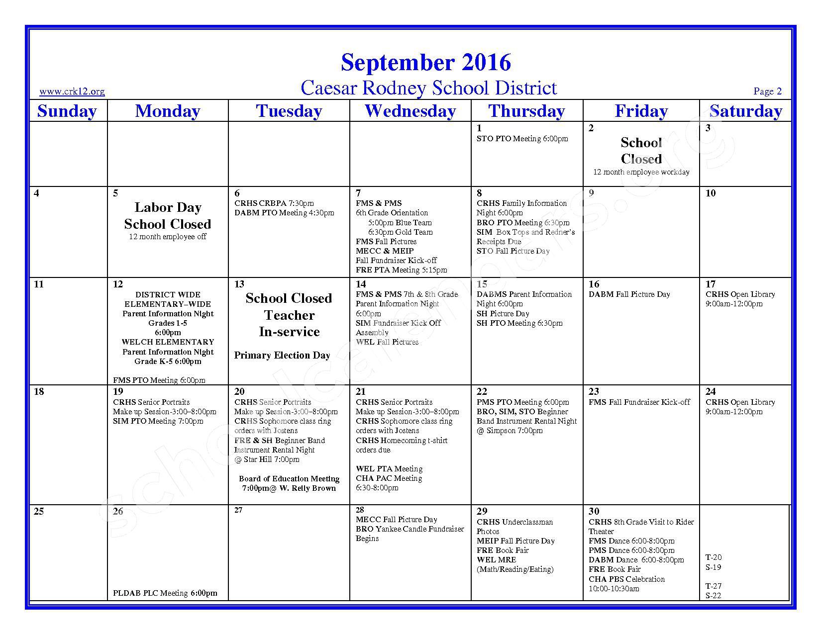 2016 - 2017 School Calendar – Brown (W. Reily) Elementary School – page 2