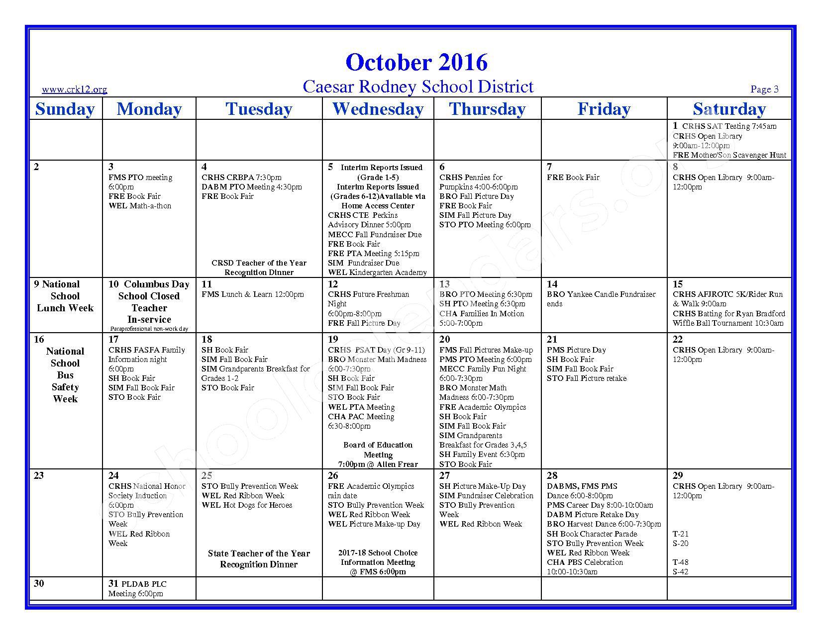 2016 - 2017 School Calendar – Brown (W. Reily) Elementary School – page 3
