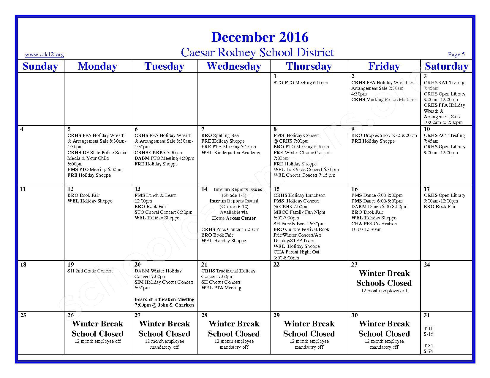 2016 - 2017 School Calendar – Brown (W. Reily) Elementary School – page 5