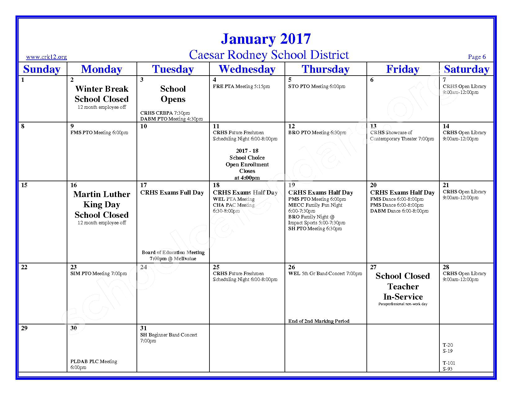2016 - 2017 School Calendar – Brown (W. Reily) Elementary School – page 6