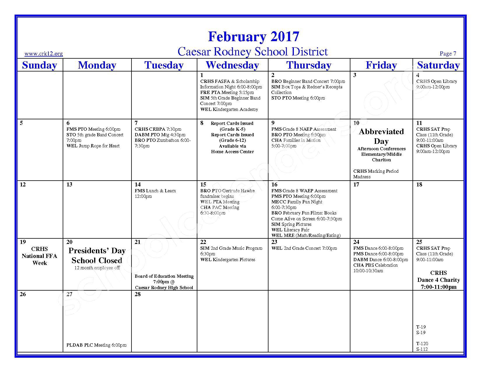 2016 - 2017 School Calendar – Brown (W. Reily) Elementary School – page 7