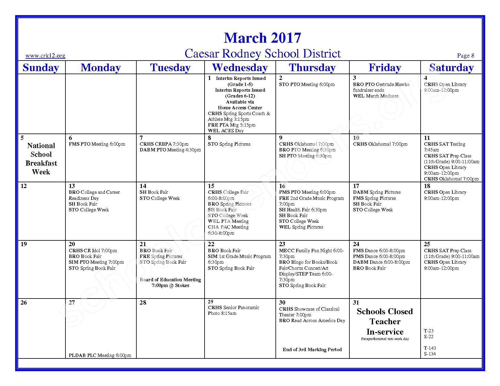 2016 - 2017 School Calendar – Brown (W. Reily) Elementary School – page 8