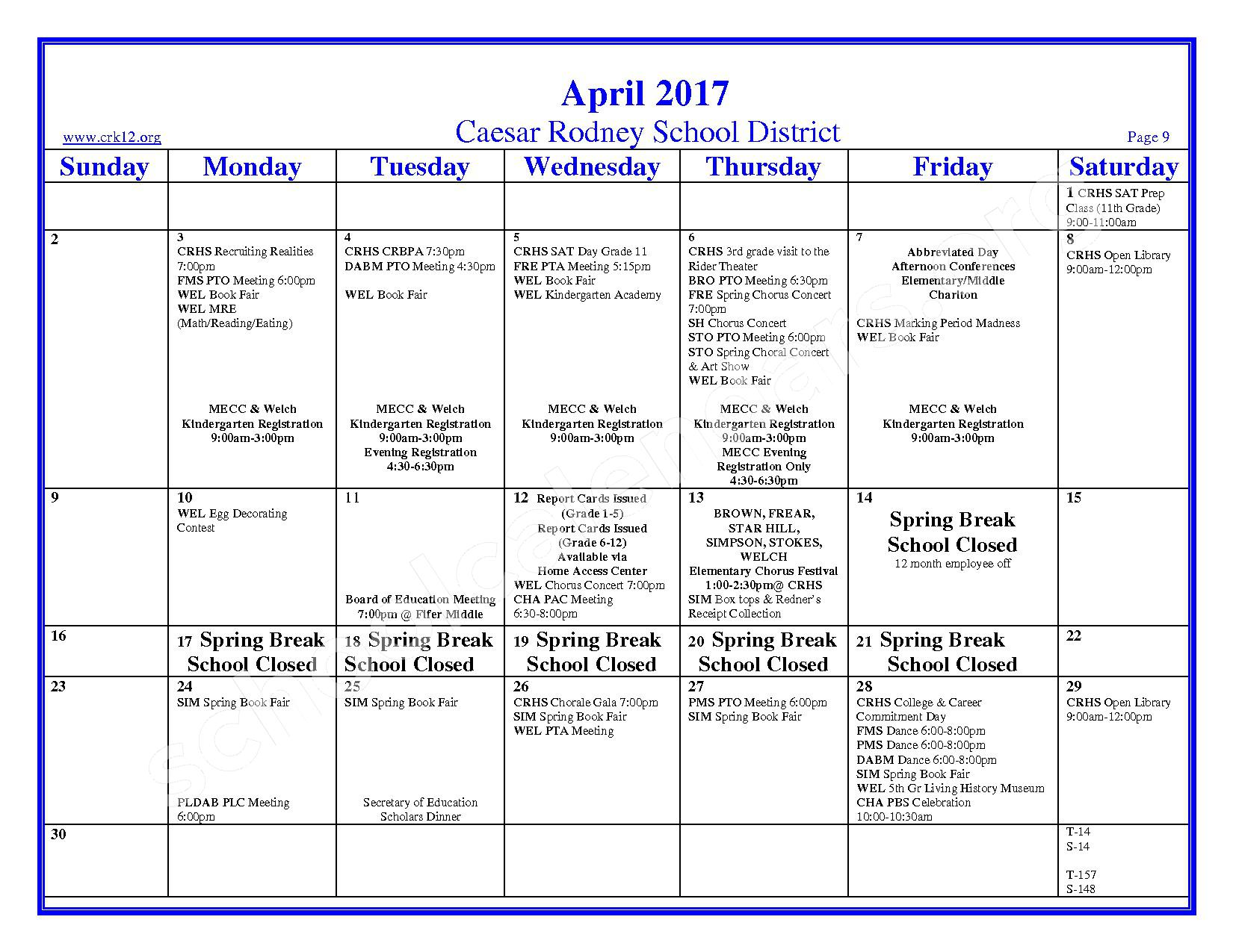 2016 - 2017 School Calendar – Brown (W. Reily) Elementary School – page 9