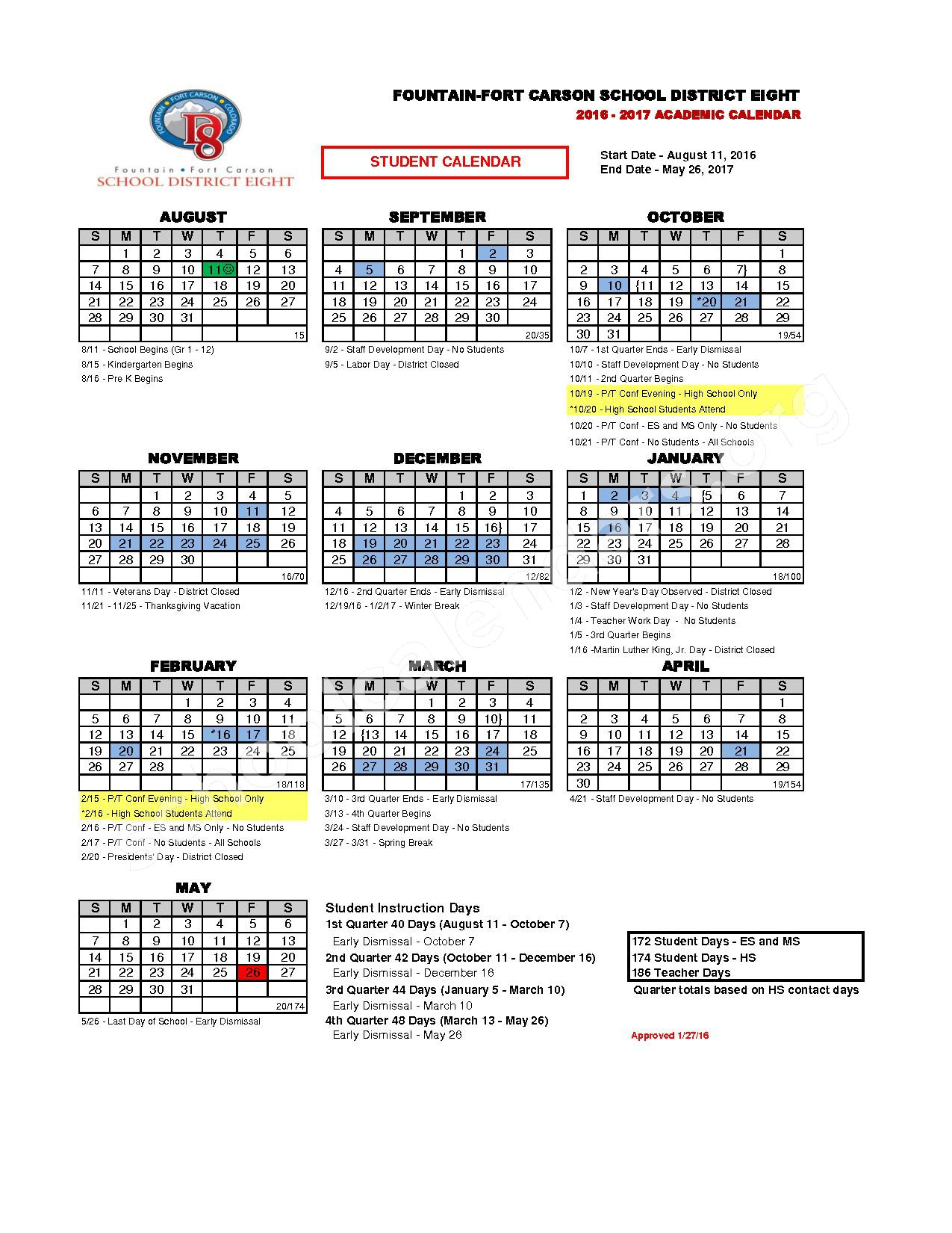 2016 - 2017 School Calendar – Fountain-Fort Carson School District 8 – page 1