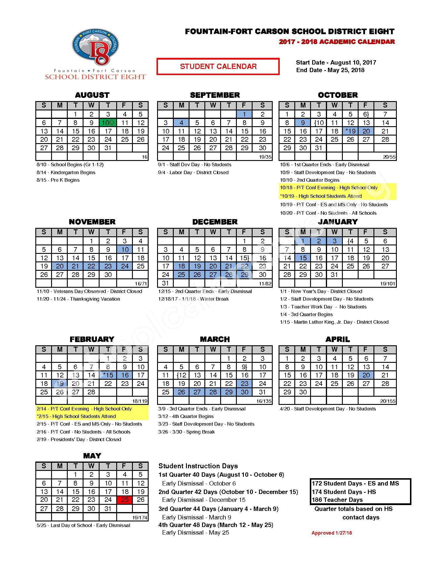 2017 - 2018 District Calendar page 1