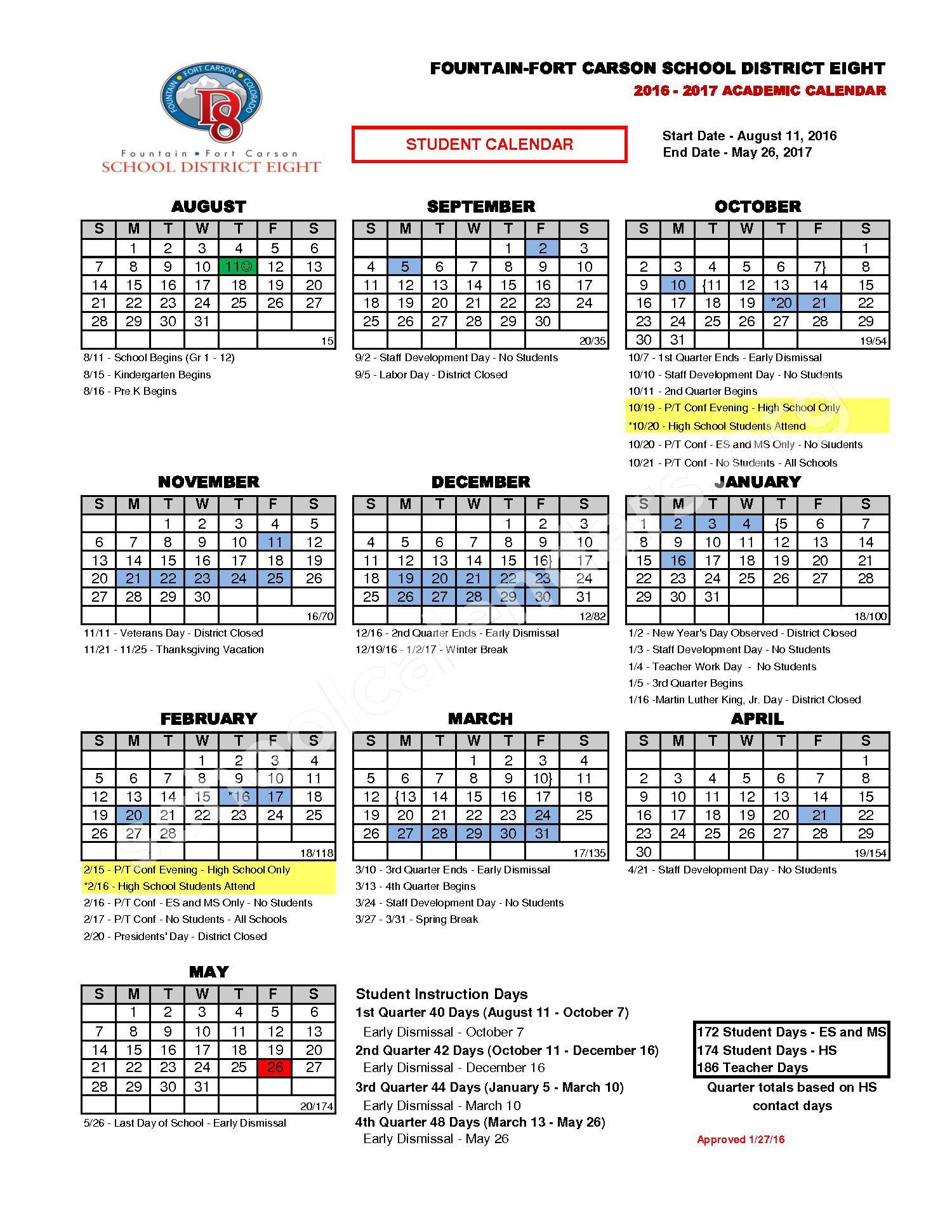 2016 - 2017 Academic Calendar – Abrams Elementary School – page 1
