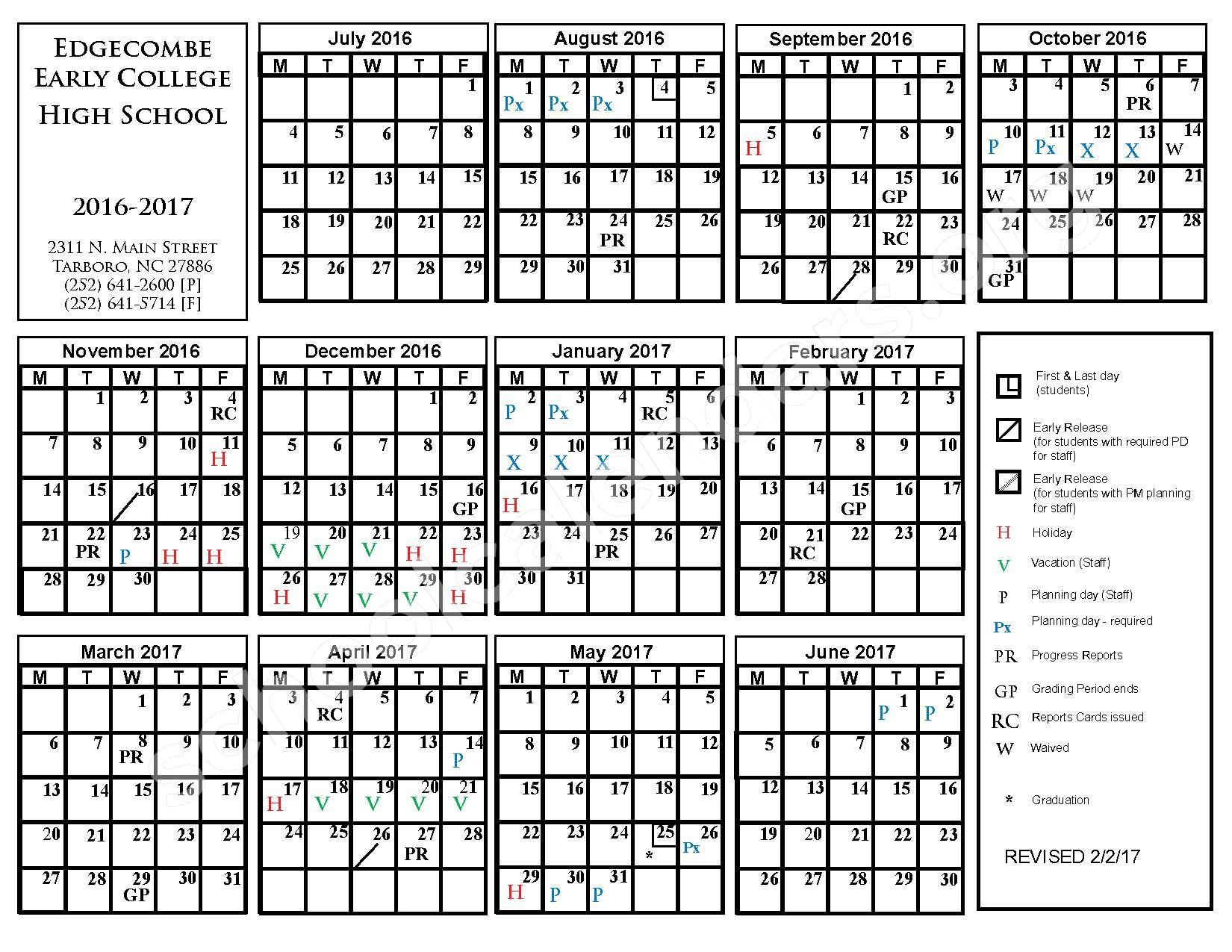 2016 - 2017  District Calendar – W A Pattillo A+ Elementary School – page 1
