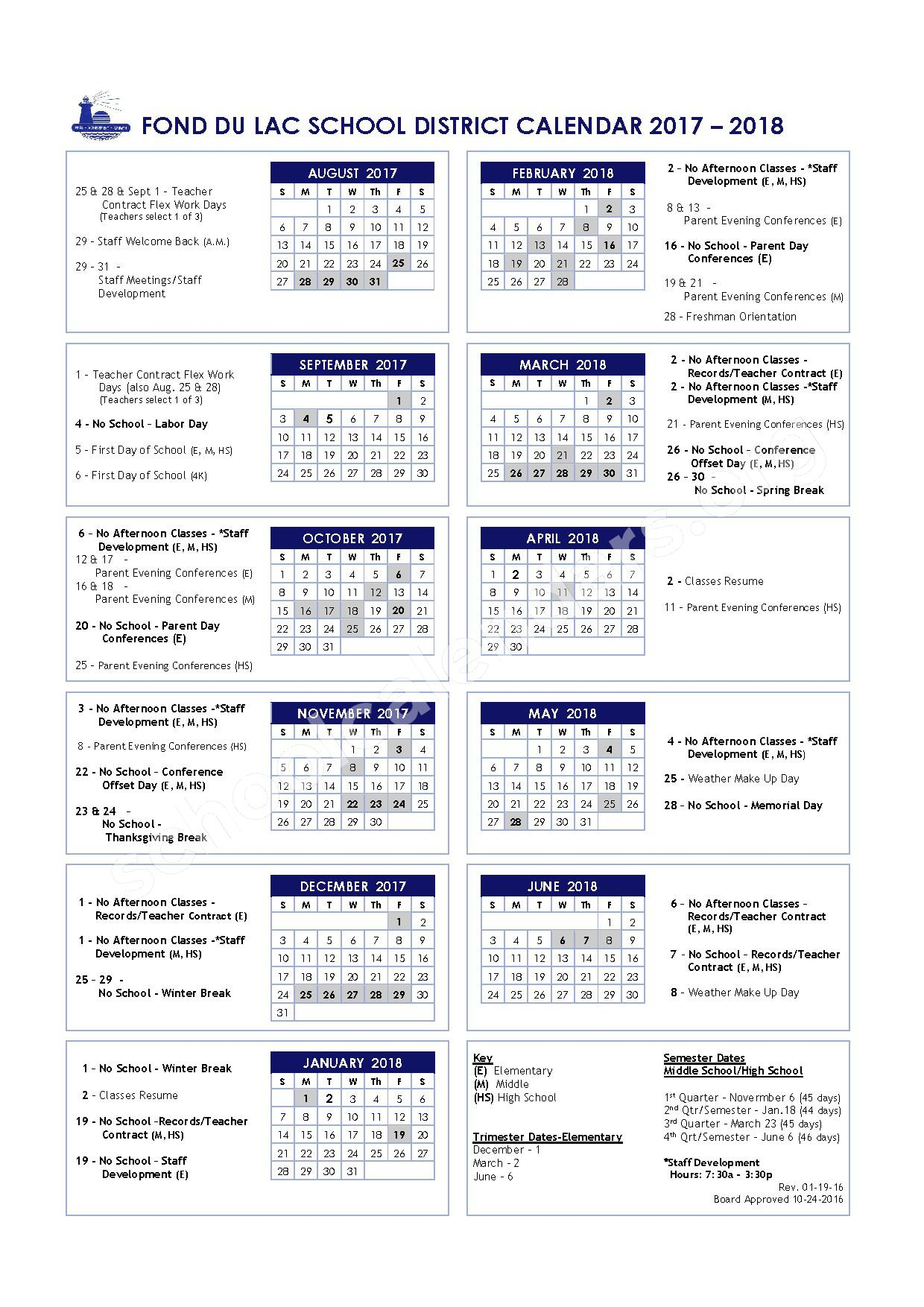 2017 - 2018 Fond Du Lac School Calendar – Woodworth Middle School – page 1