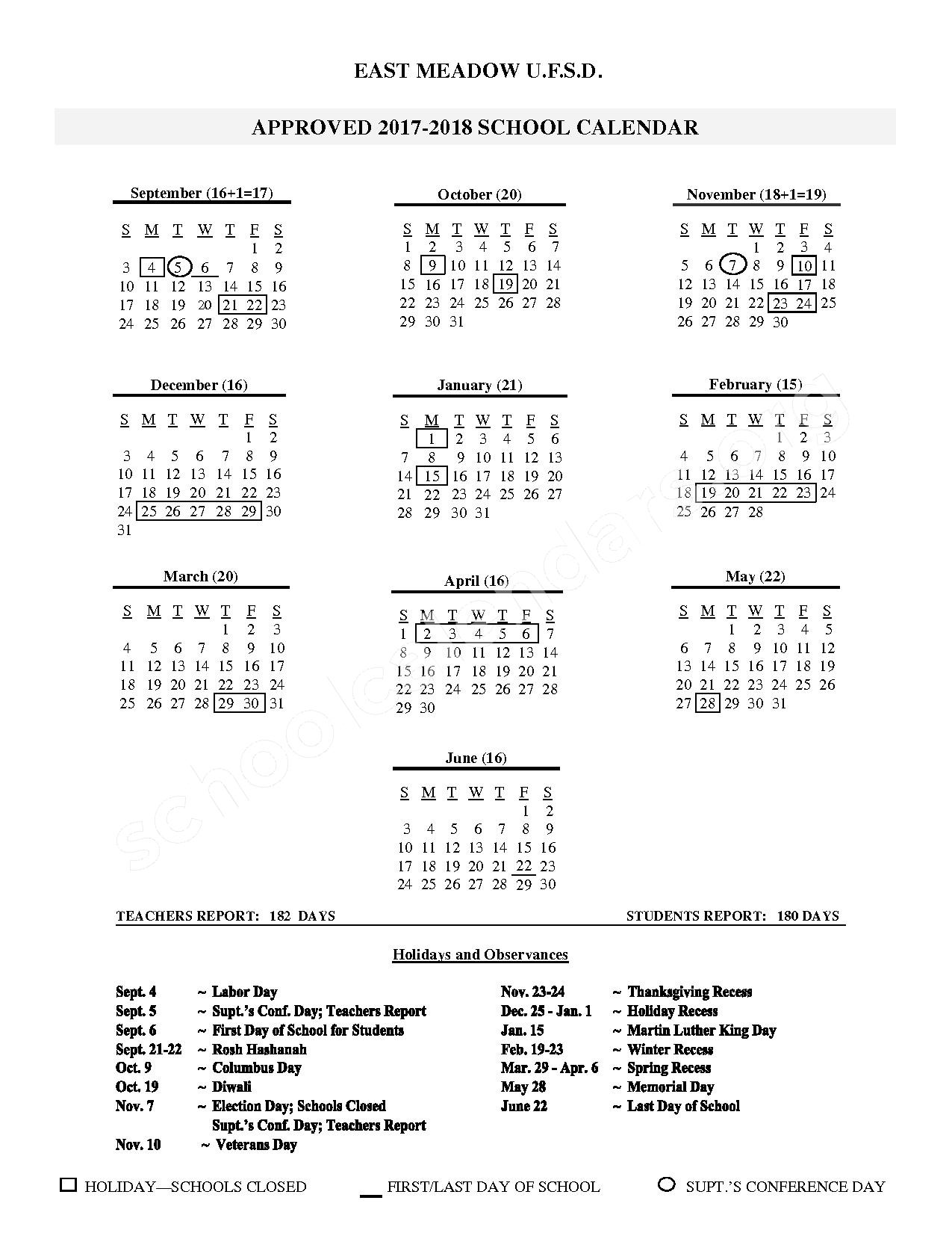 2017 - 2018 District Calendar – Meadowbrook Elementary School – page 1