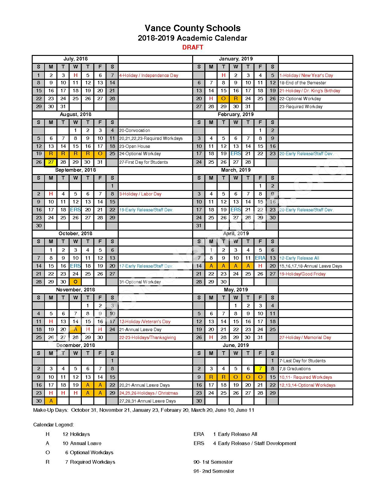 2018 - 2019 District Calendar – Vance County Schools – page 1