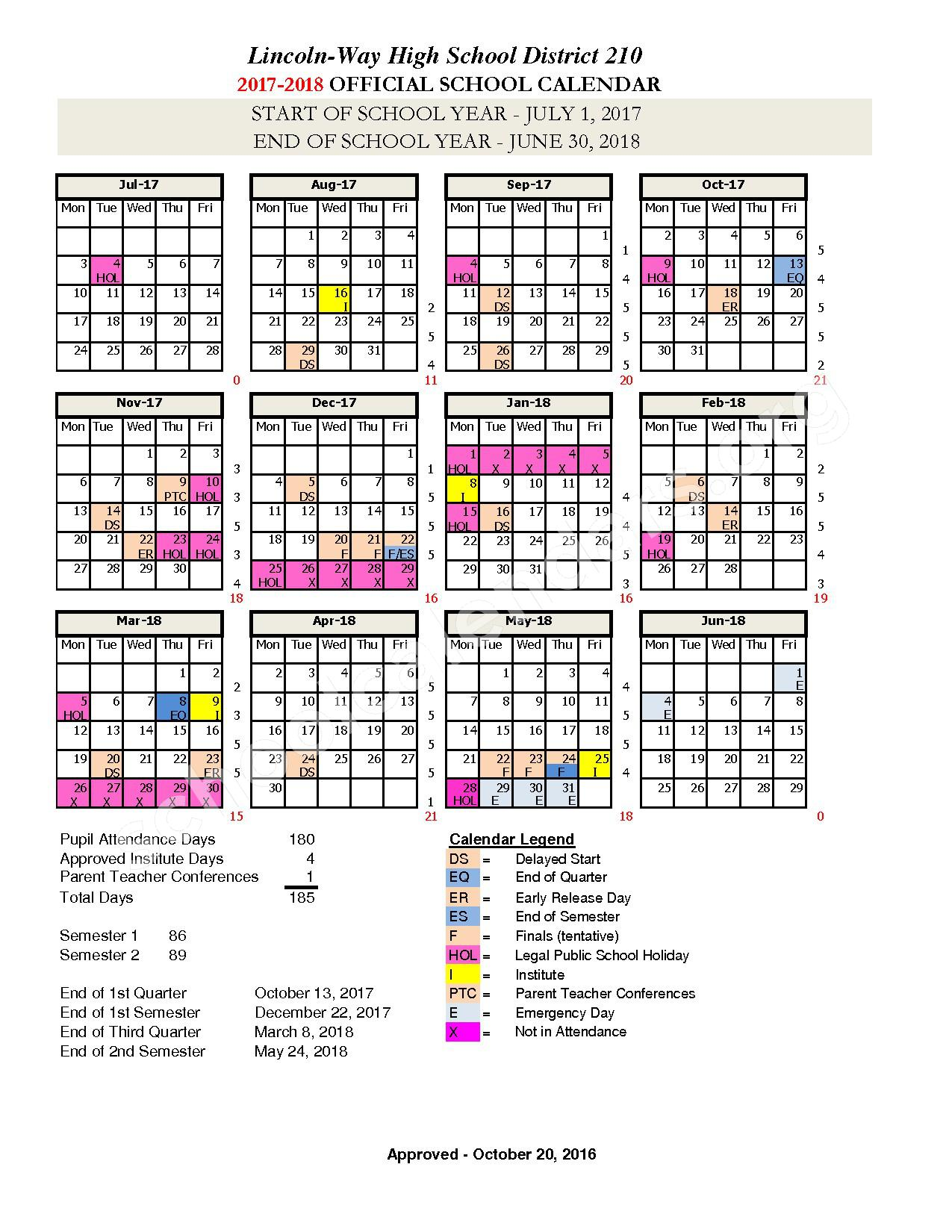 2017 - 2018 District Calendar – Lincoln Way Community High School District 210 – page 1