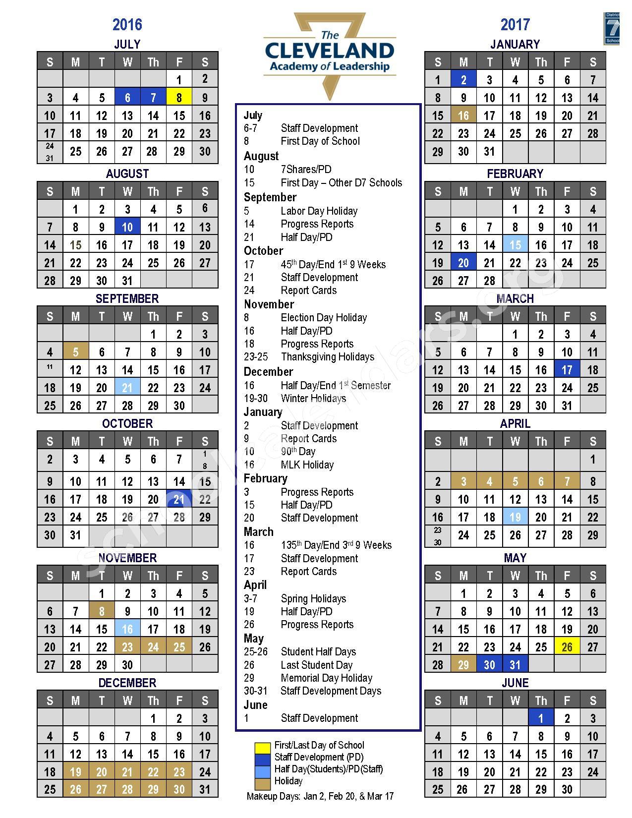 2016 - 2017 Academic Calendar – Spartanburg School District 7 – page 1