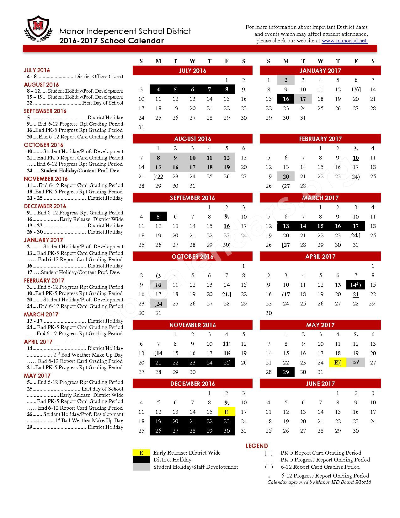 2016 - 2017 School Calendar (Revised) – Manor Independent School District – page 1