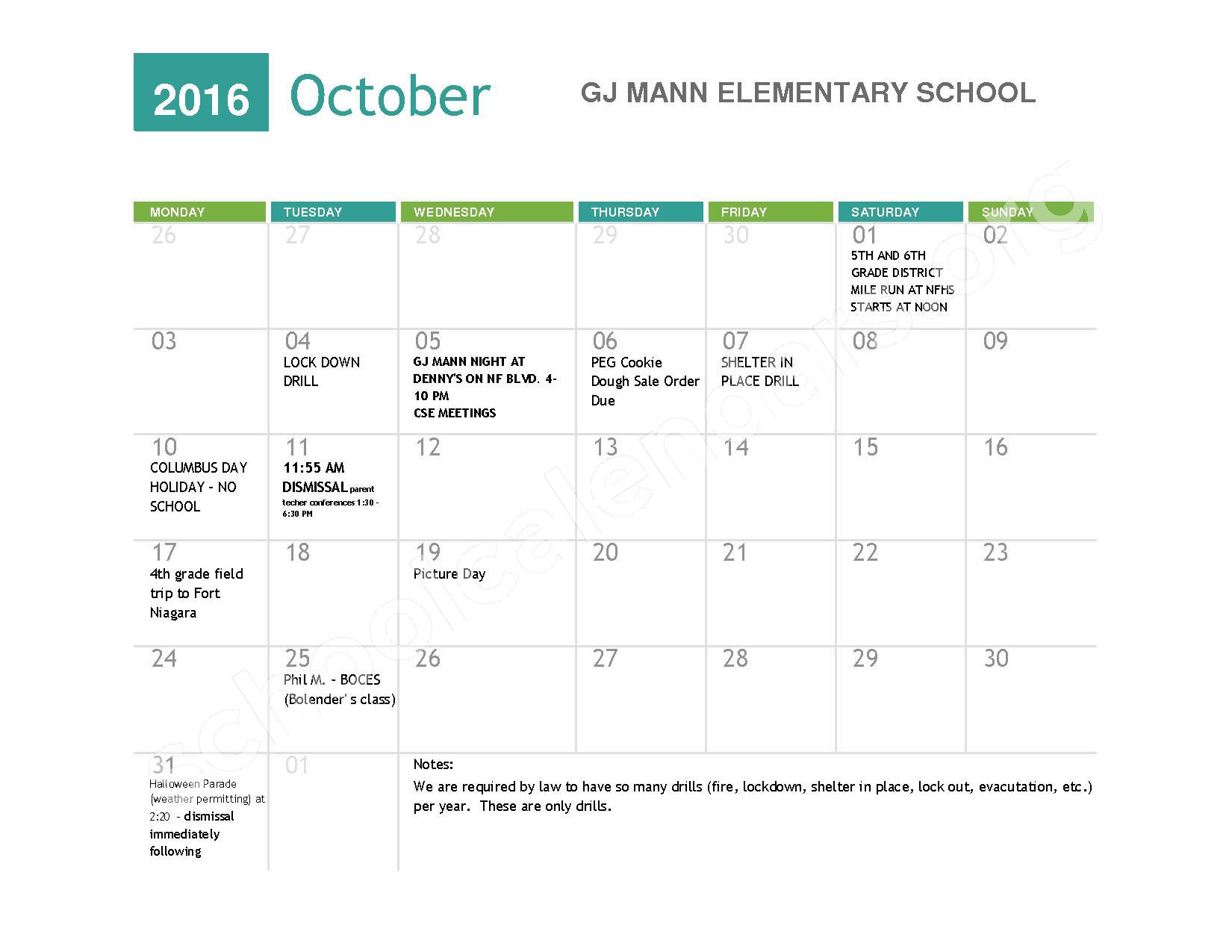 2016 - 2017  District Calendar – Niagara Falls High School – page 2