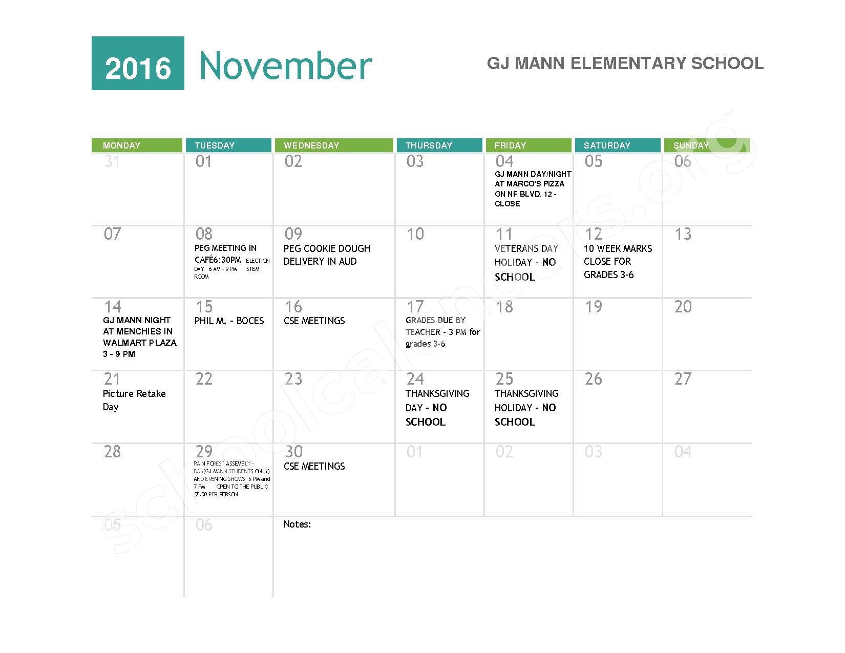 2016 - 2017  District Calendar – Niagara Falls High School – page 3