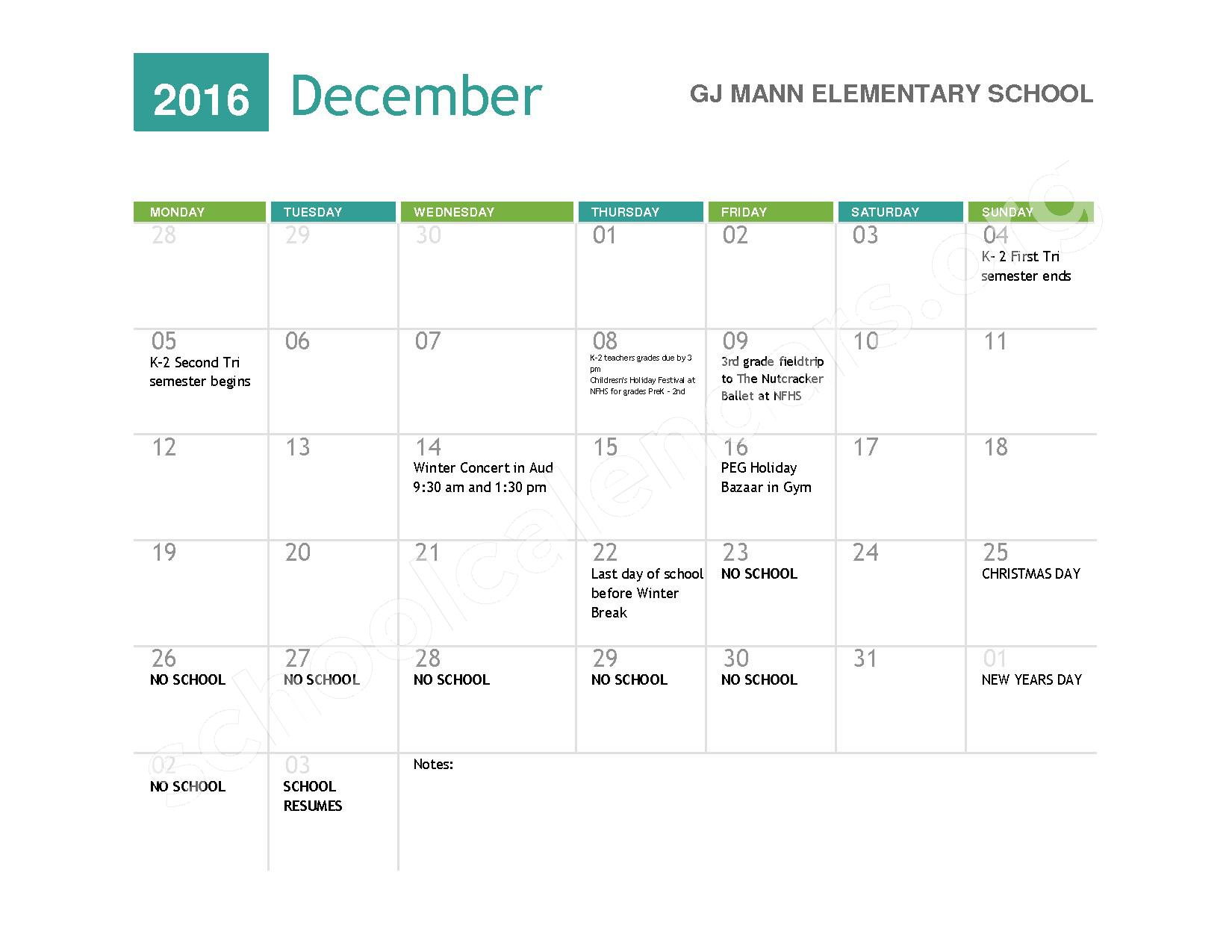 2016 - 2017  District Calendar – Niagara Falls High School – page 4
