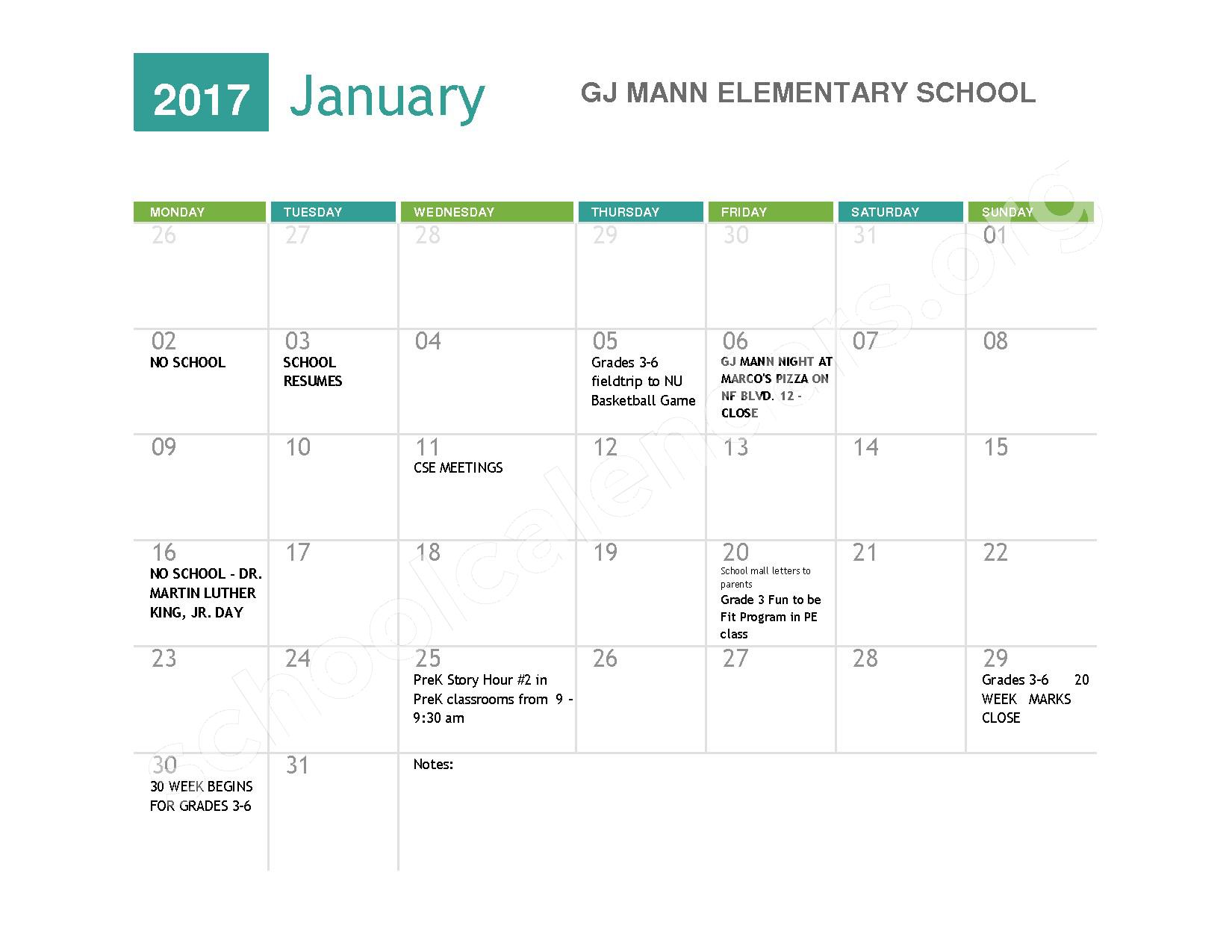 2016 - 2017  District Calendar – Niagara Falls High School – page 5