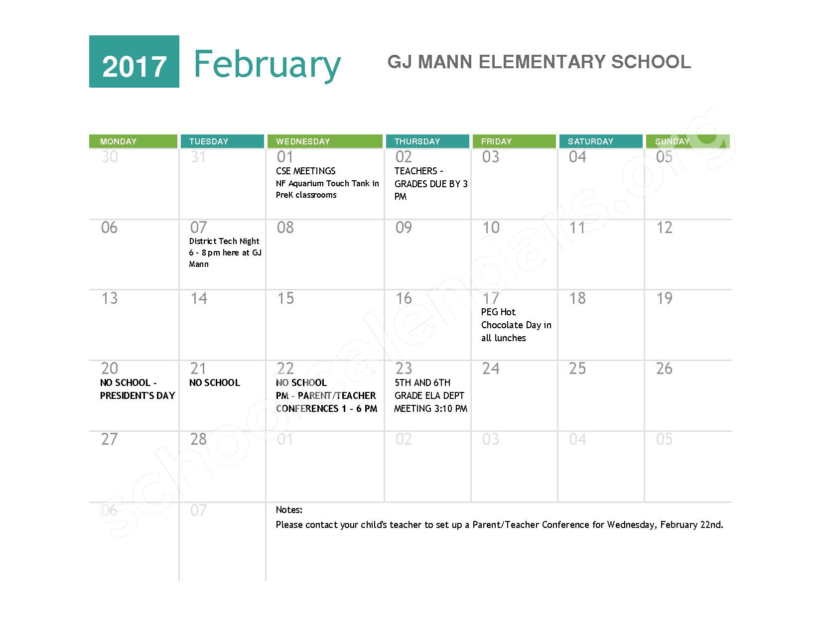 2016 - 2017  District Calendar – Niagara Falls High School – page 6