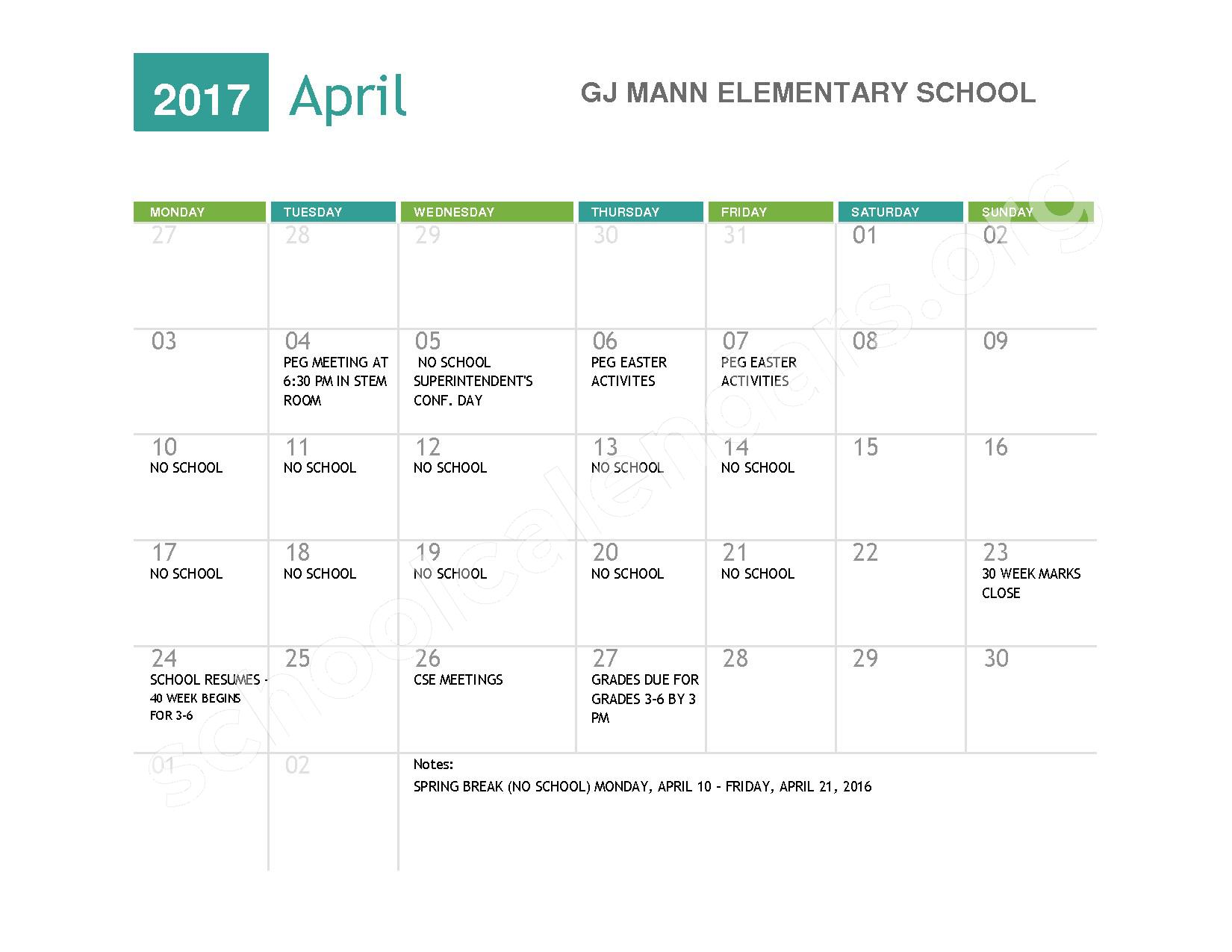 2016 - 2017  District Calendar – Niagara Falls High School – page 8