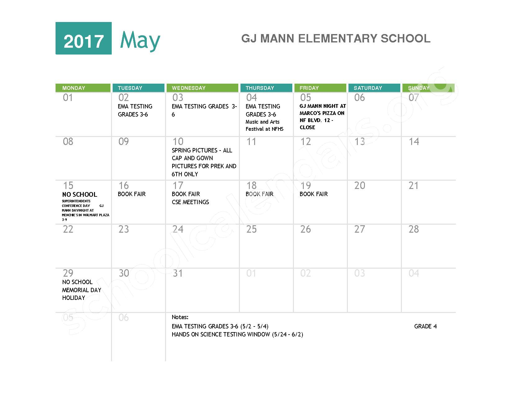 2016 - 2017  District Calendar – Niagara Falls High School – page 9