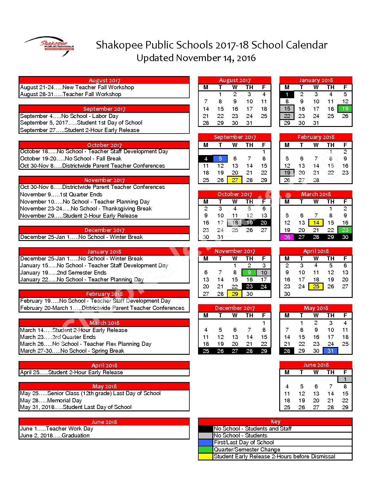 2017 - 2018 District Calendar – Shakopee Middle School – page 1