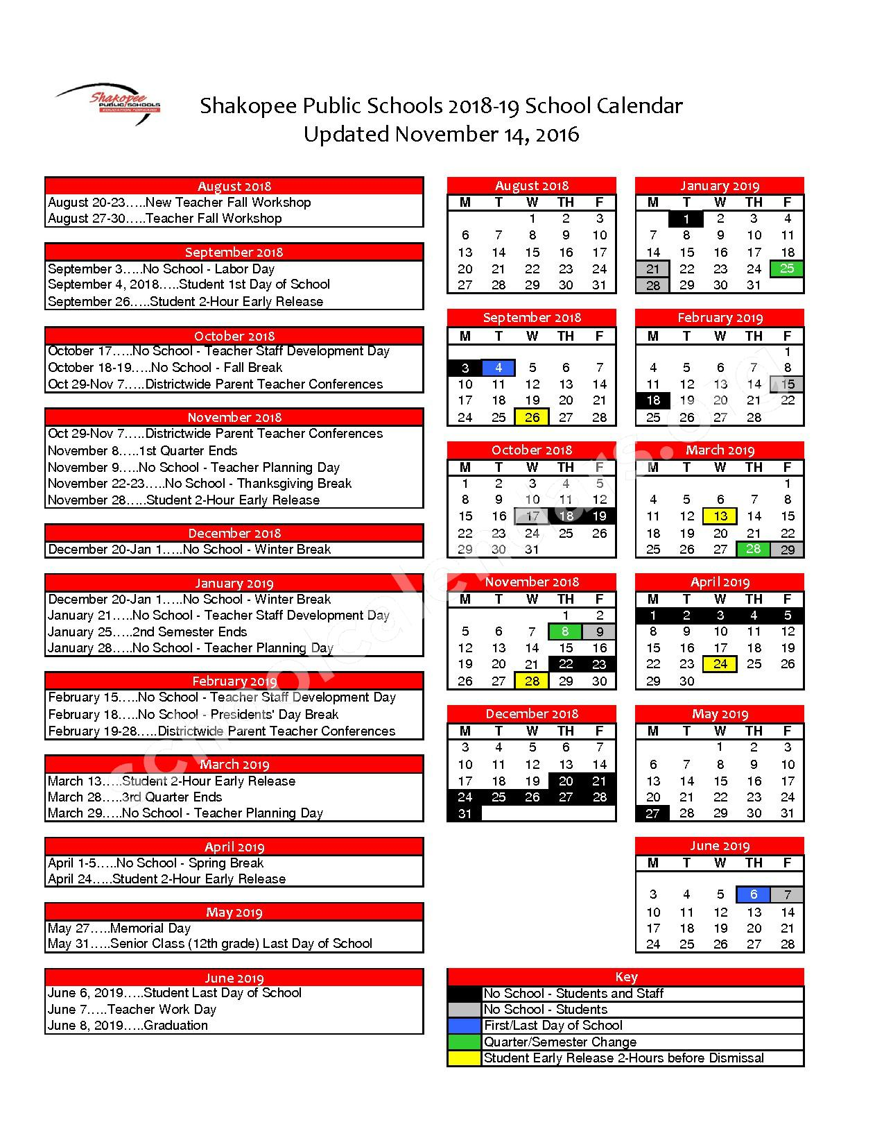 2018 - 2019 District Calendar – Shakopee Middle School – page 1
