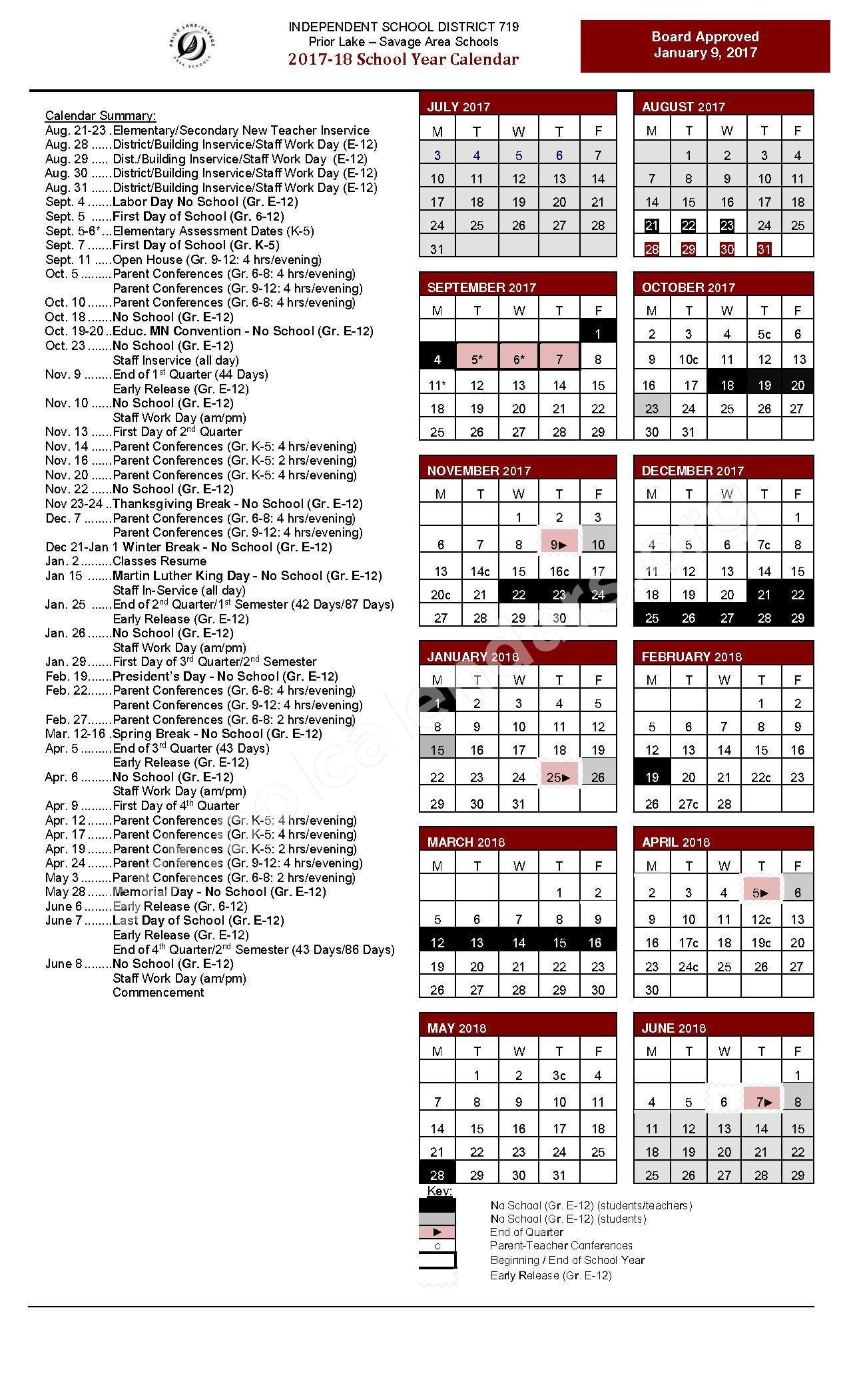 2017 - 2018 School Calendar – Prior Lake High School – page 1