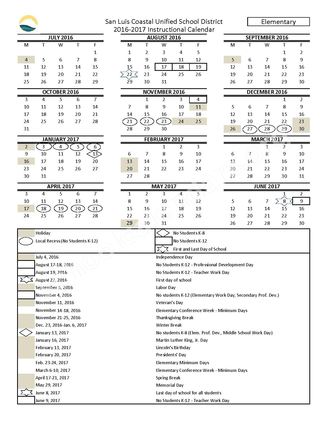 2016 - 2017  Elementary Calendar – San Luis Coastal Unified School District – page 1