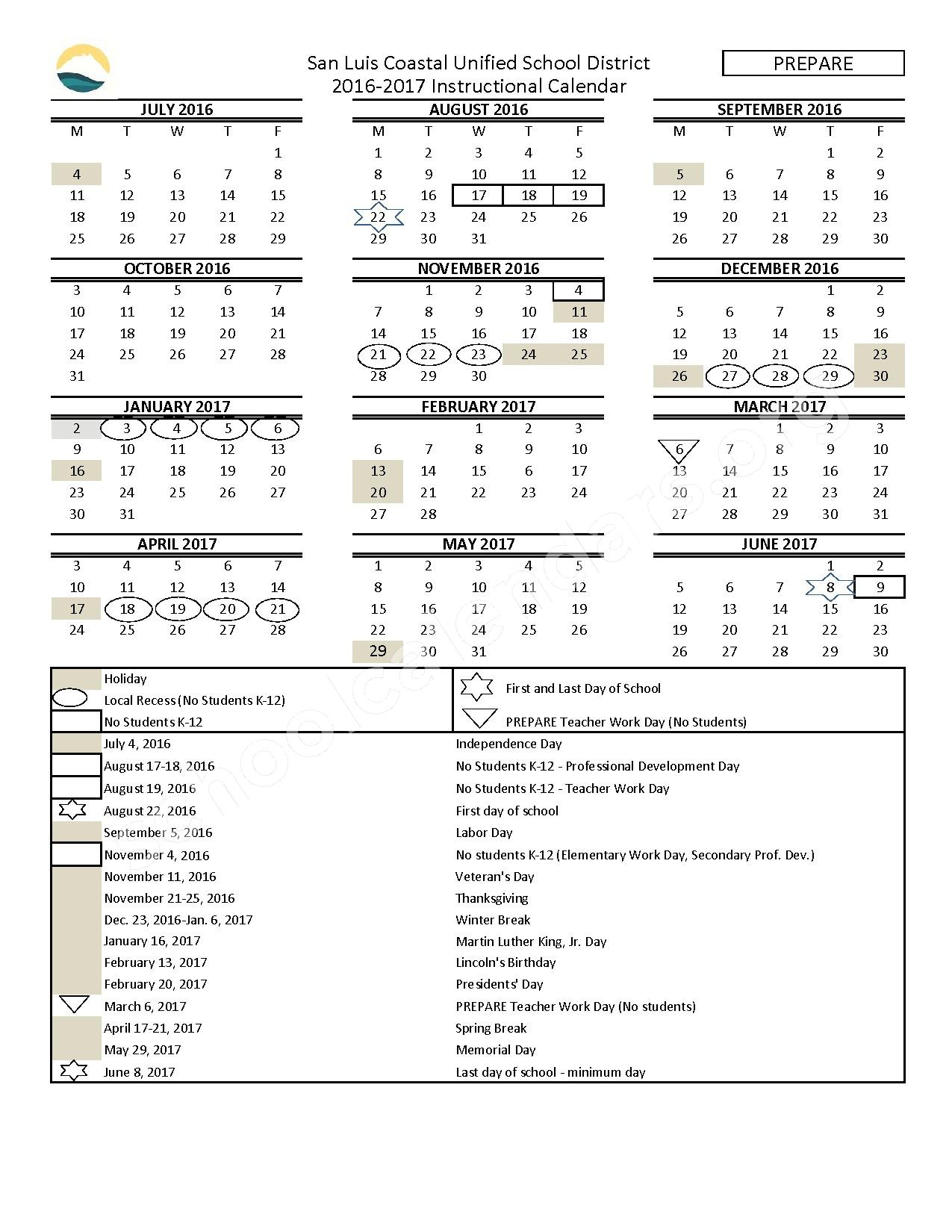 2016 - 2017 District Calendar – San Luis Coastal Unified School District – page 1
