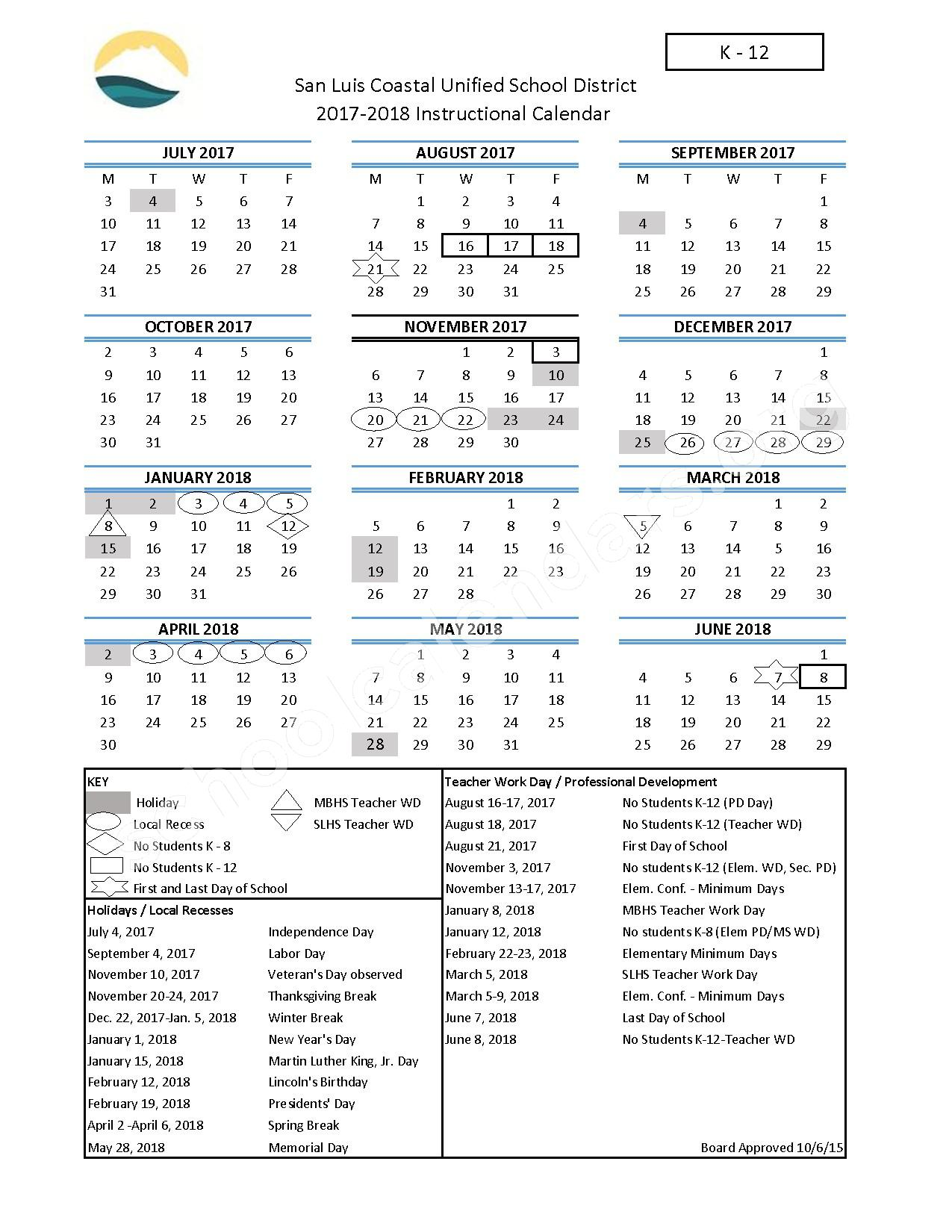 2017 - 2018 District Calendar (K-12) – San Luis Coastal Unified School District – page 1