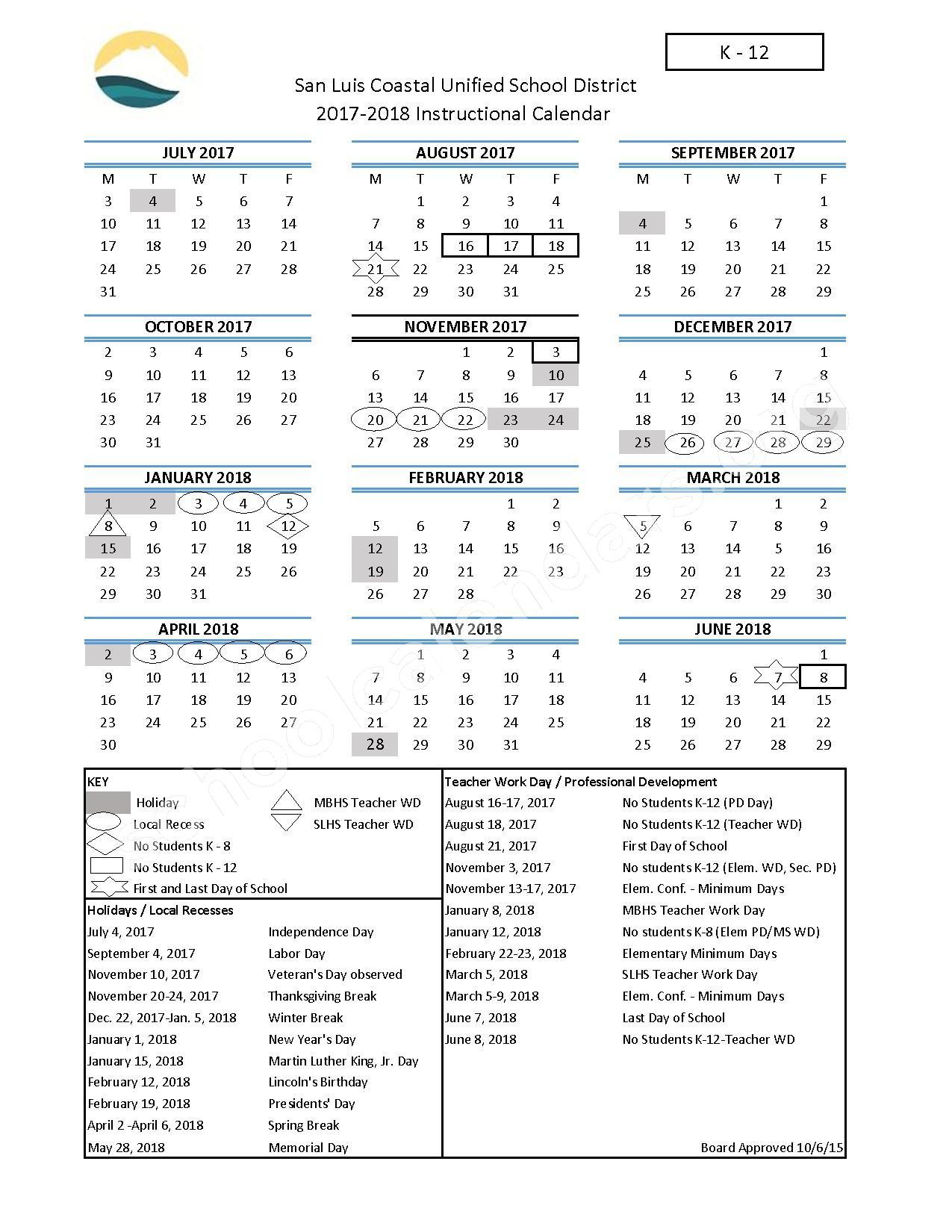 2017 - 2018 District Calendar (K-12) – San Luis Coastal Unified School District – page 1