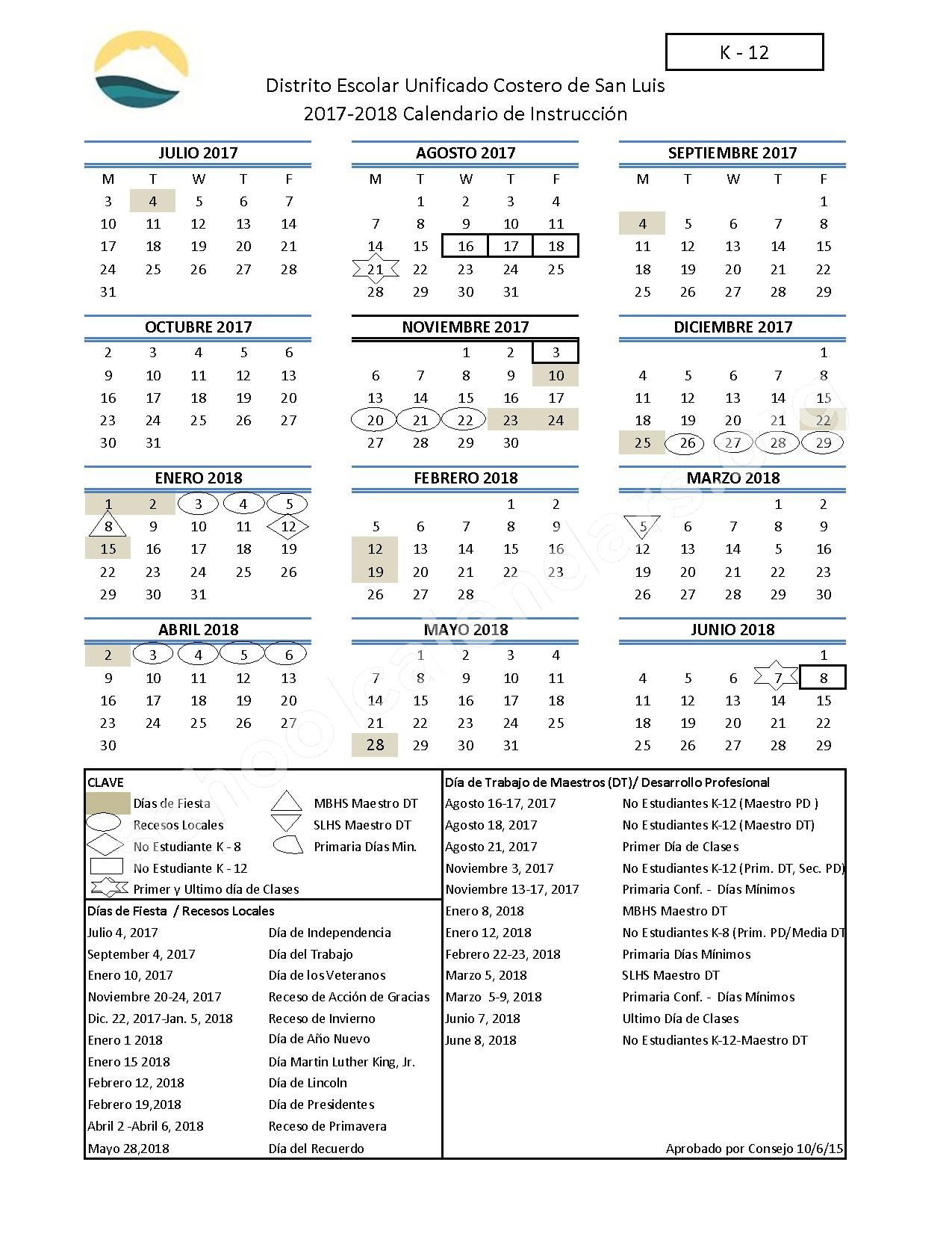 2017 - 2018 Calendario Escolar (K-12) – San Luis Coastal Unified School District – page 1