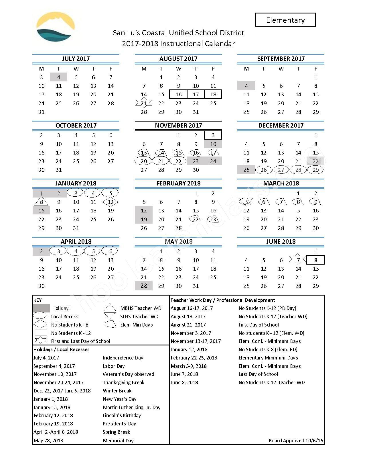 2017 - 2018 Elementary School Calendar – San Luis Coastal Unified School District – page 1