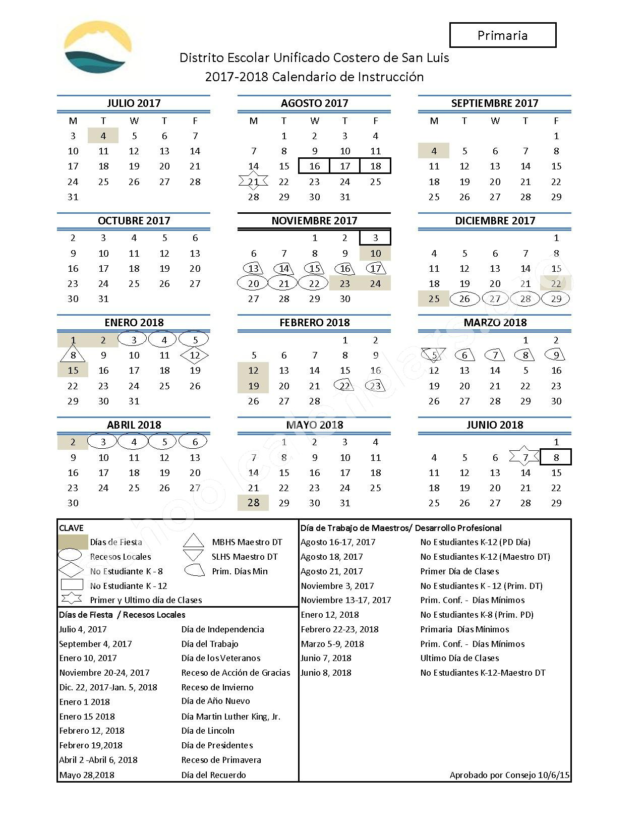 2017 - 2018 Calendario Escolar (Primaria) – San Luis Coastal Unified School District – page 1