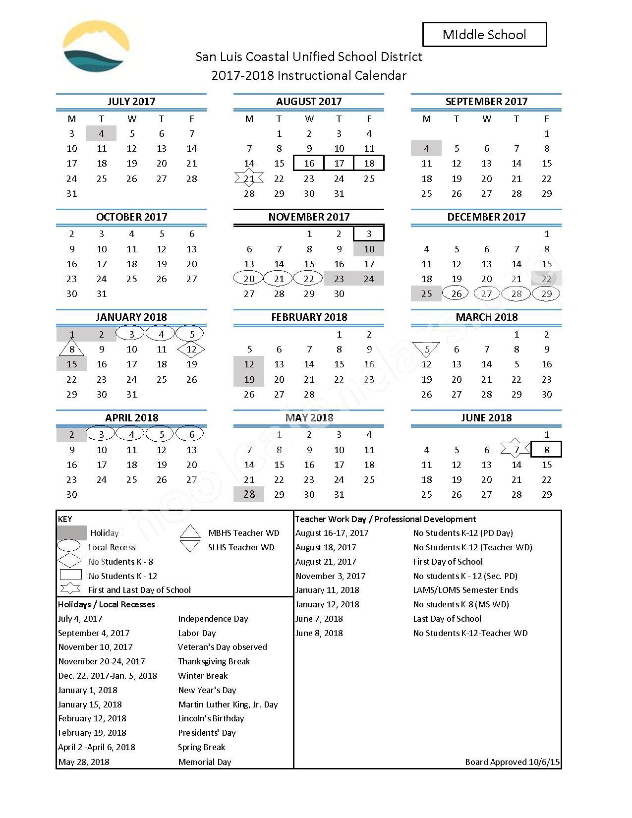 2017 - 2018 Middle School Calendar – San Luis Coastal Unified School District – page 1