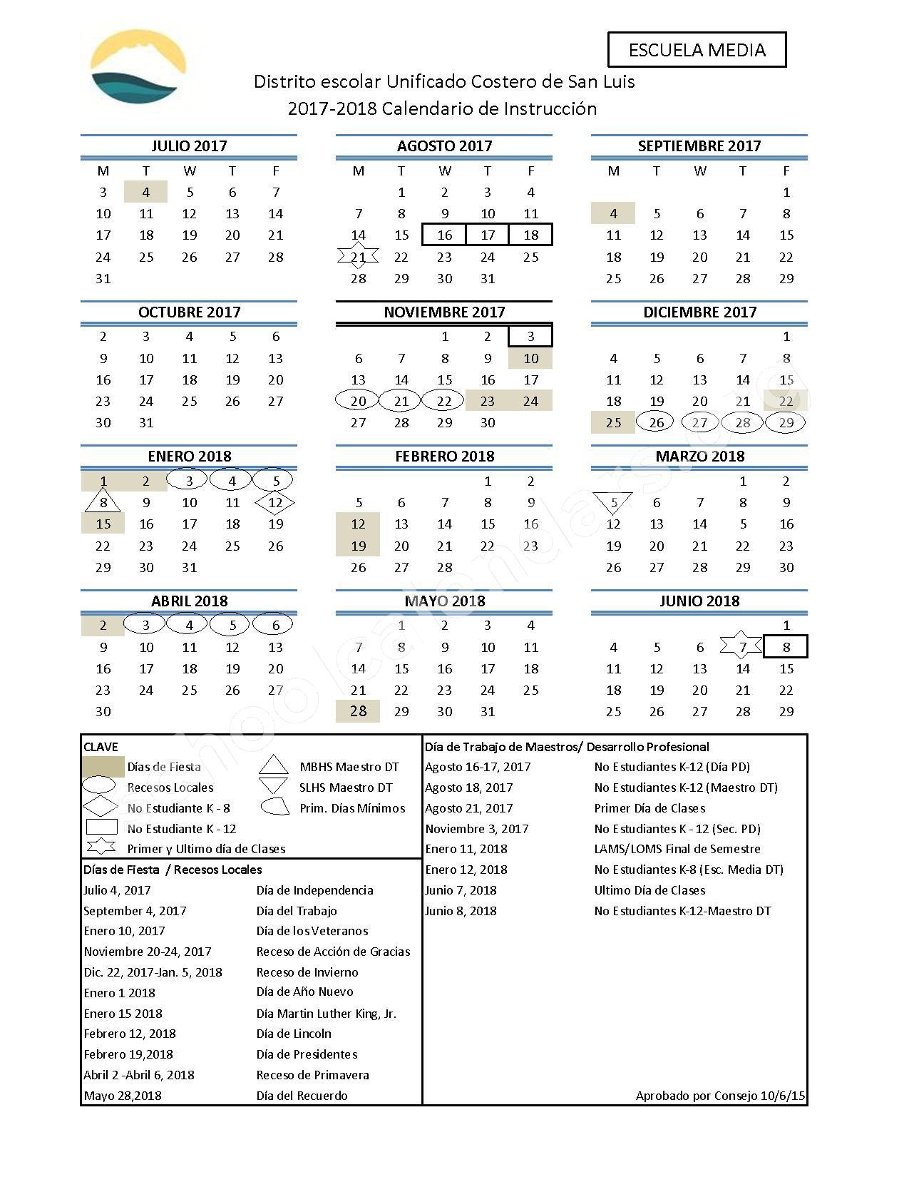 2017 - 2018 Calendario Esoclar (Escuela Media) – San Luis Coastal Unified School District – page 1