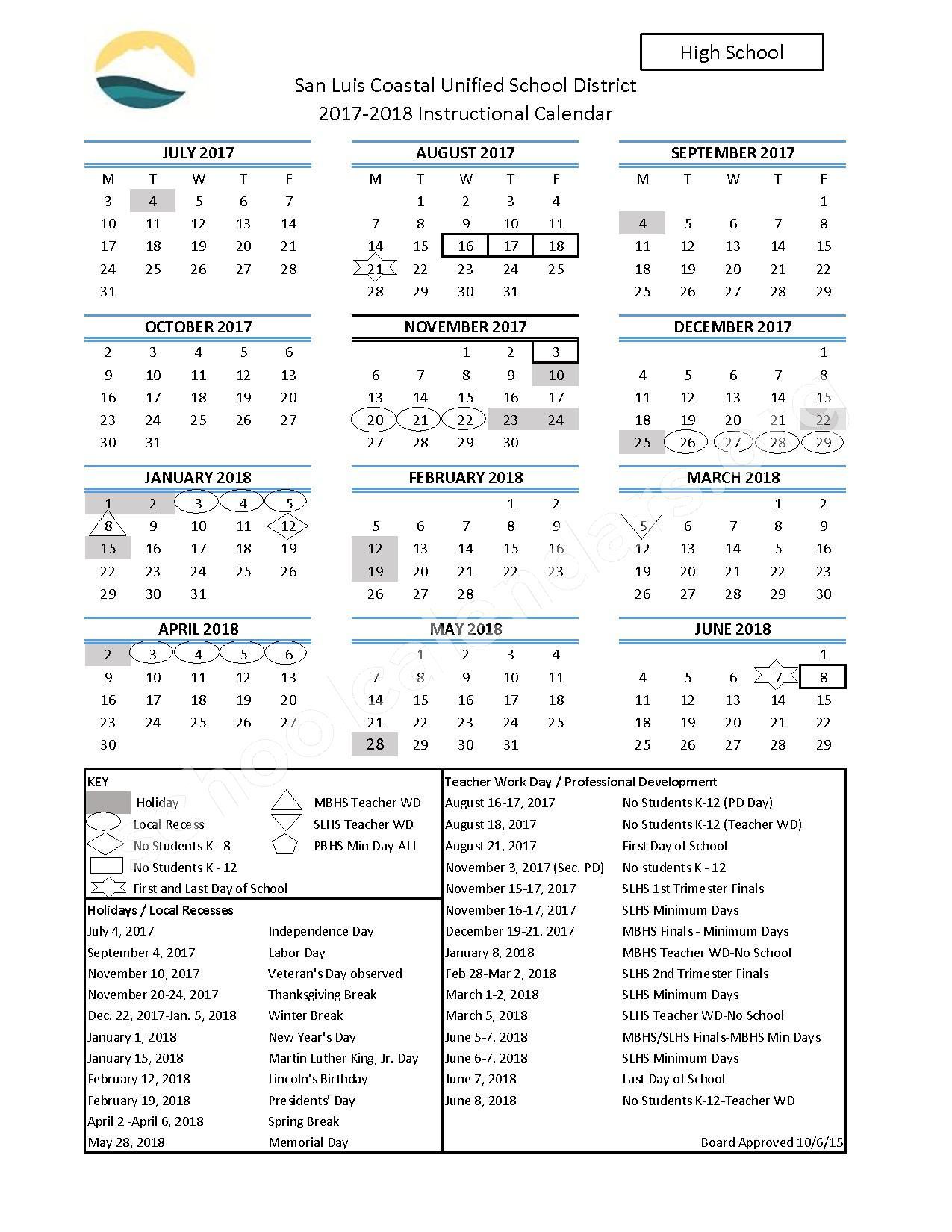 2017 - 2018 High School Calendar – San Luis Coastal Unified School District – page 1