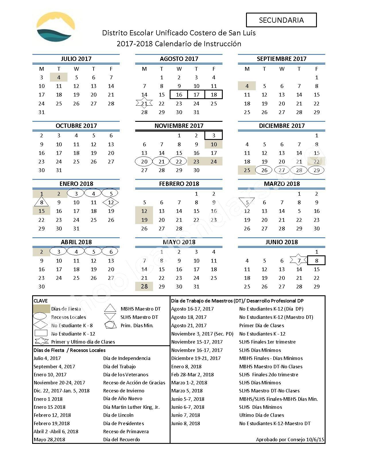 2017 - 2018 Calendario Escolar (Secundaria) – San Luis Coastal Unified School District – page 1