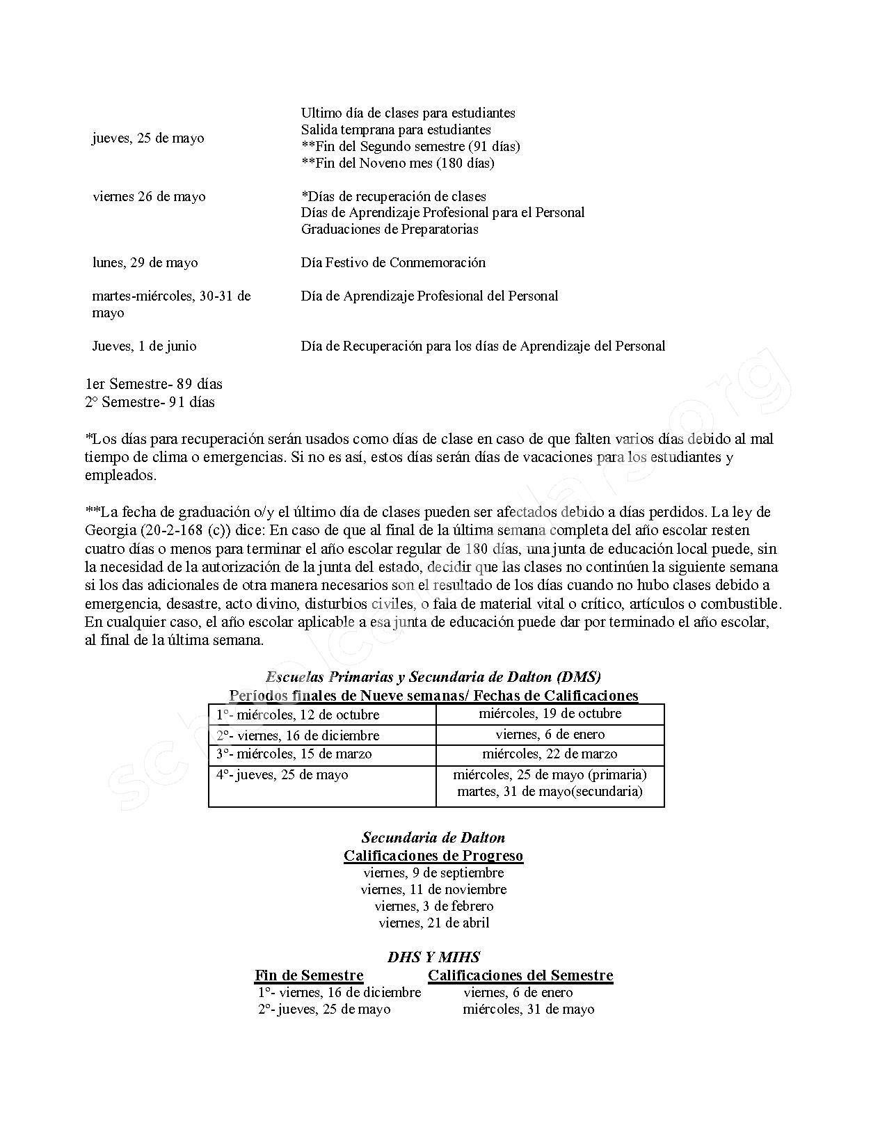 2016 -2017 Spanish Calendar – Dalton Public Schools – page 2