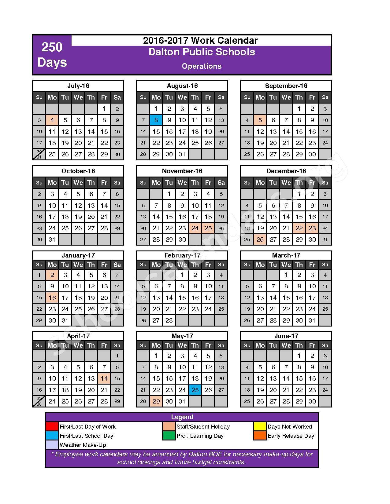2016 - 2017 School Calendar – Dalton Public Schools – page 10