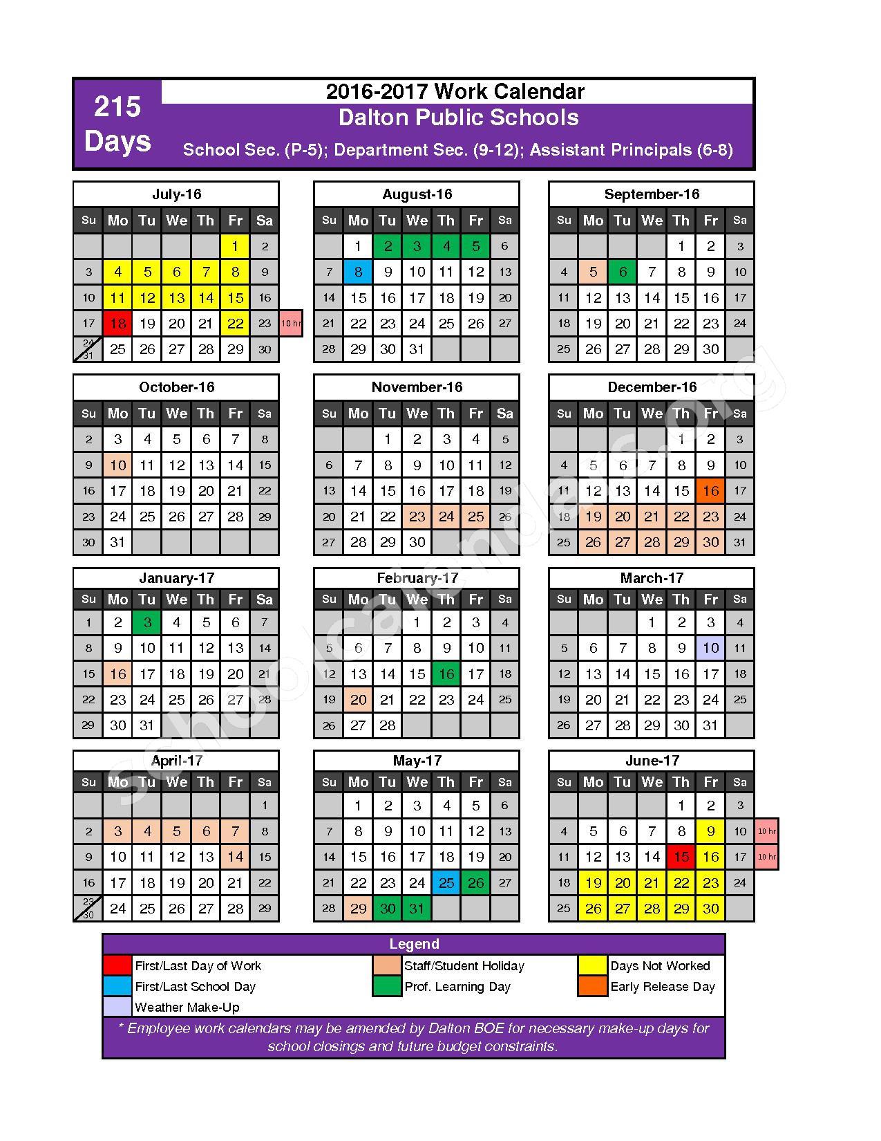 2016 - 2017 School Calendar – Dalton Public Schools – page 8