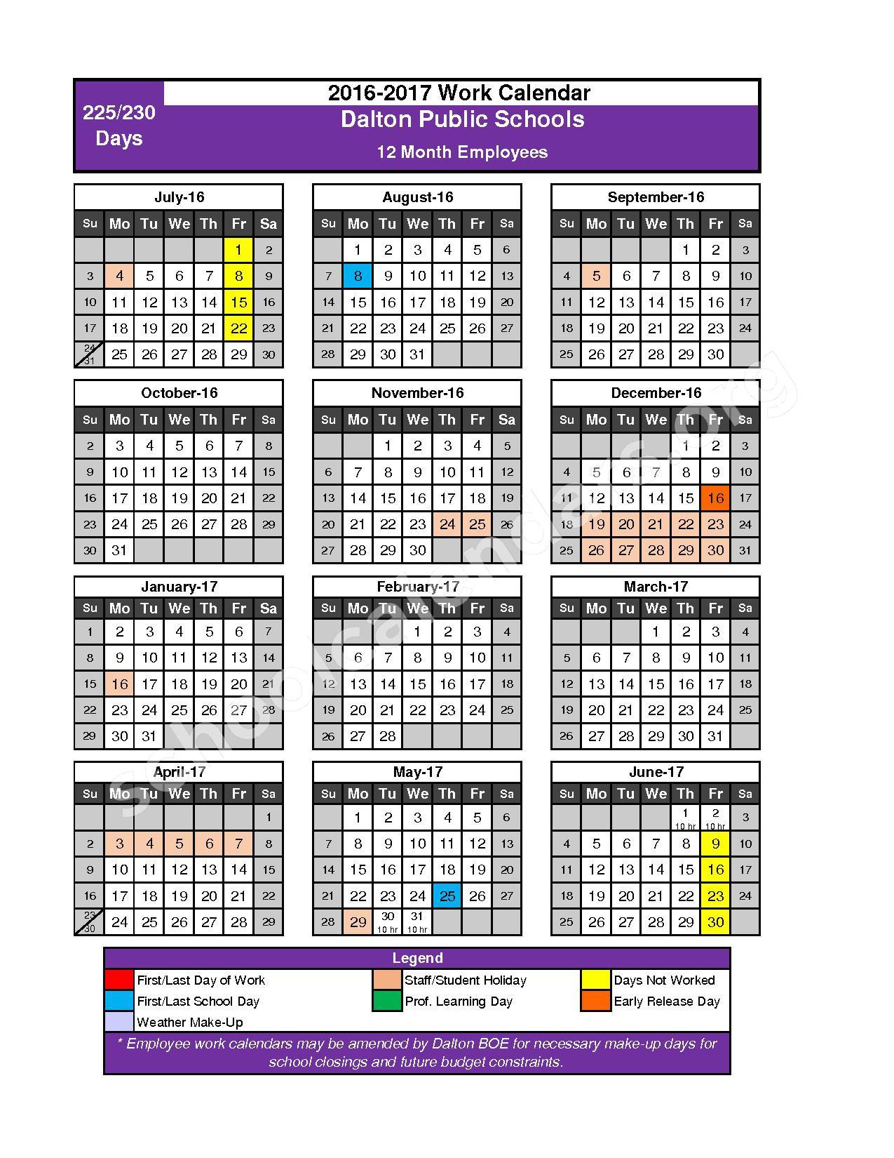 2016 - 2017 School Calendar – Dalton Public Schools – page 9