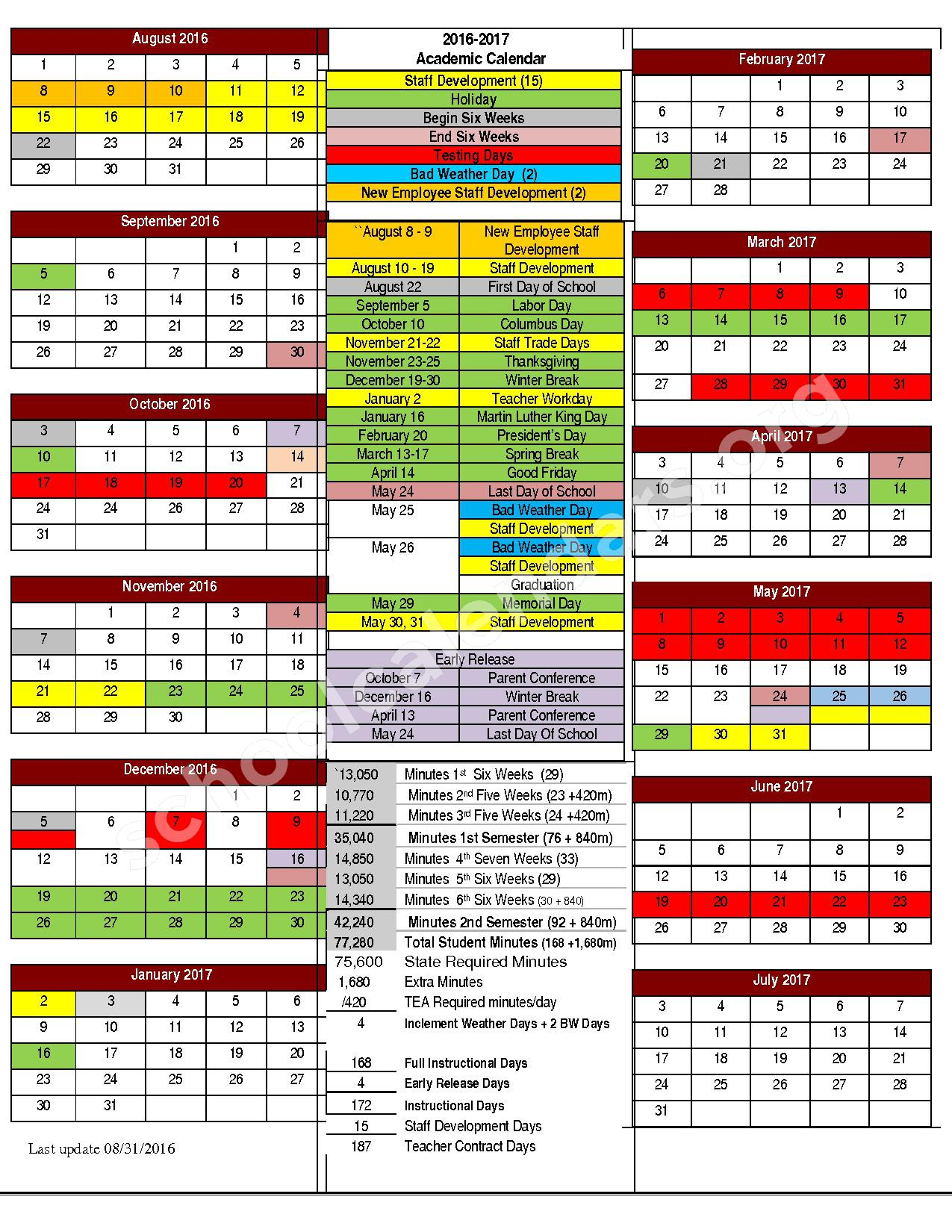 2016 - 2017 Academic Calendar – Cleburne Independent School District – page 1