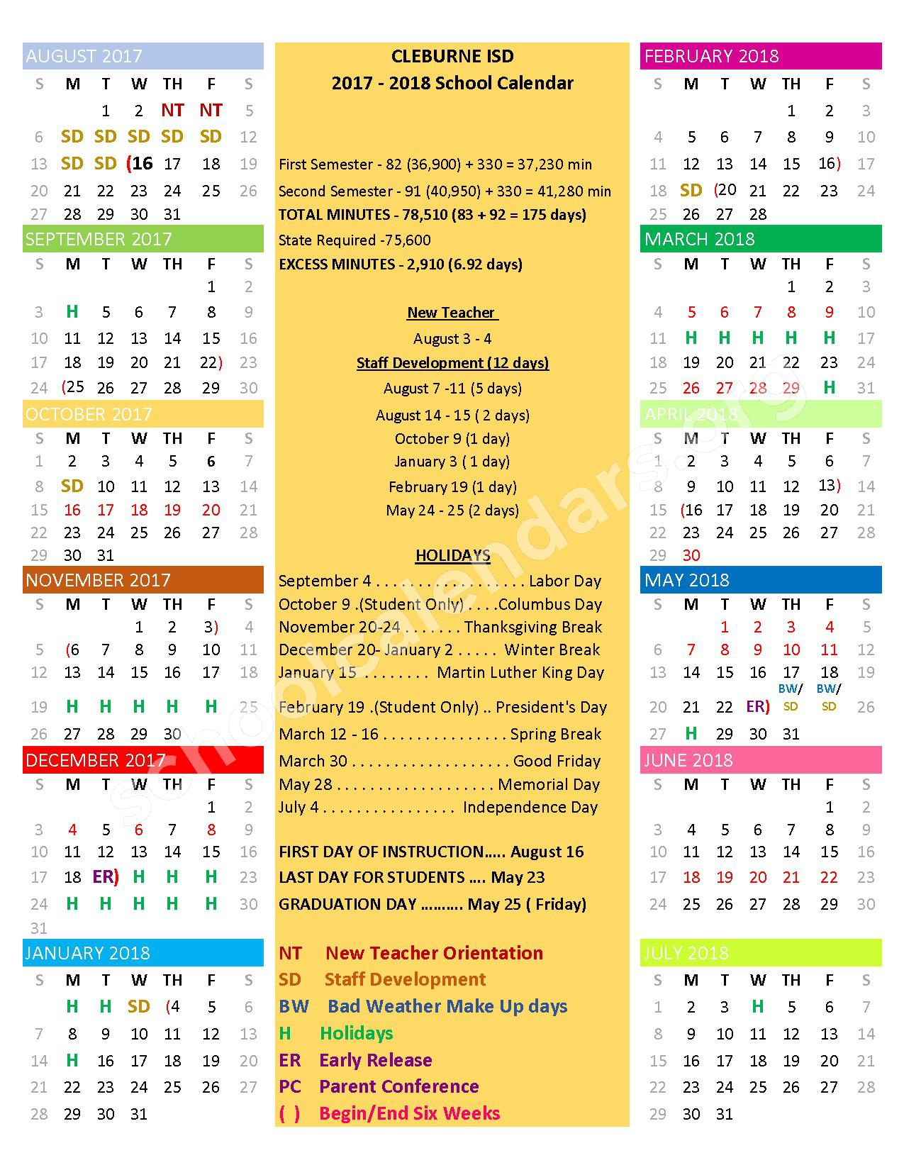 2017 - 2018 Academic Calendar – Cleburne Independent School District – page 1