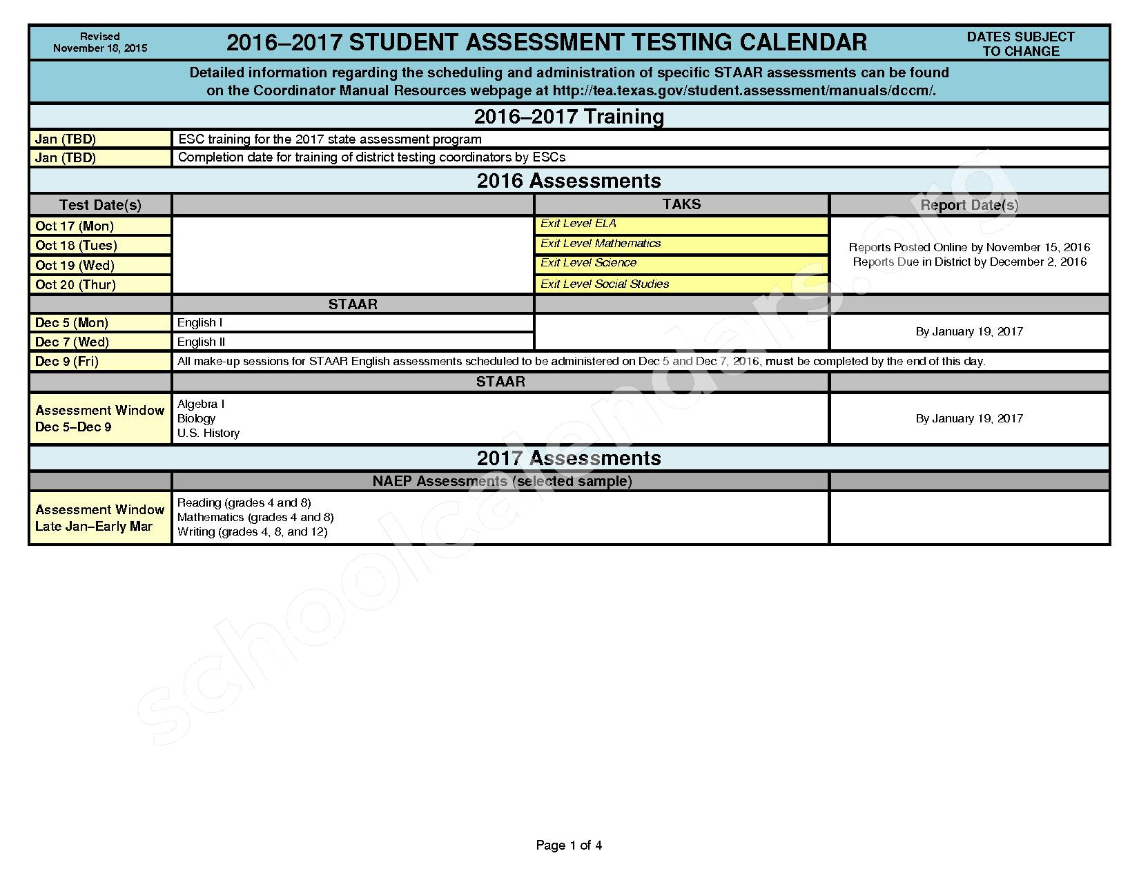 2016 - 2017 Student Assessment Calendar – Cleburne Independent School District – page 1
