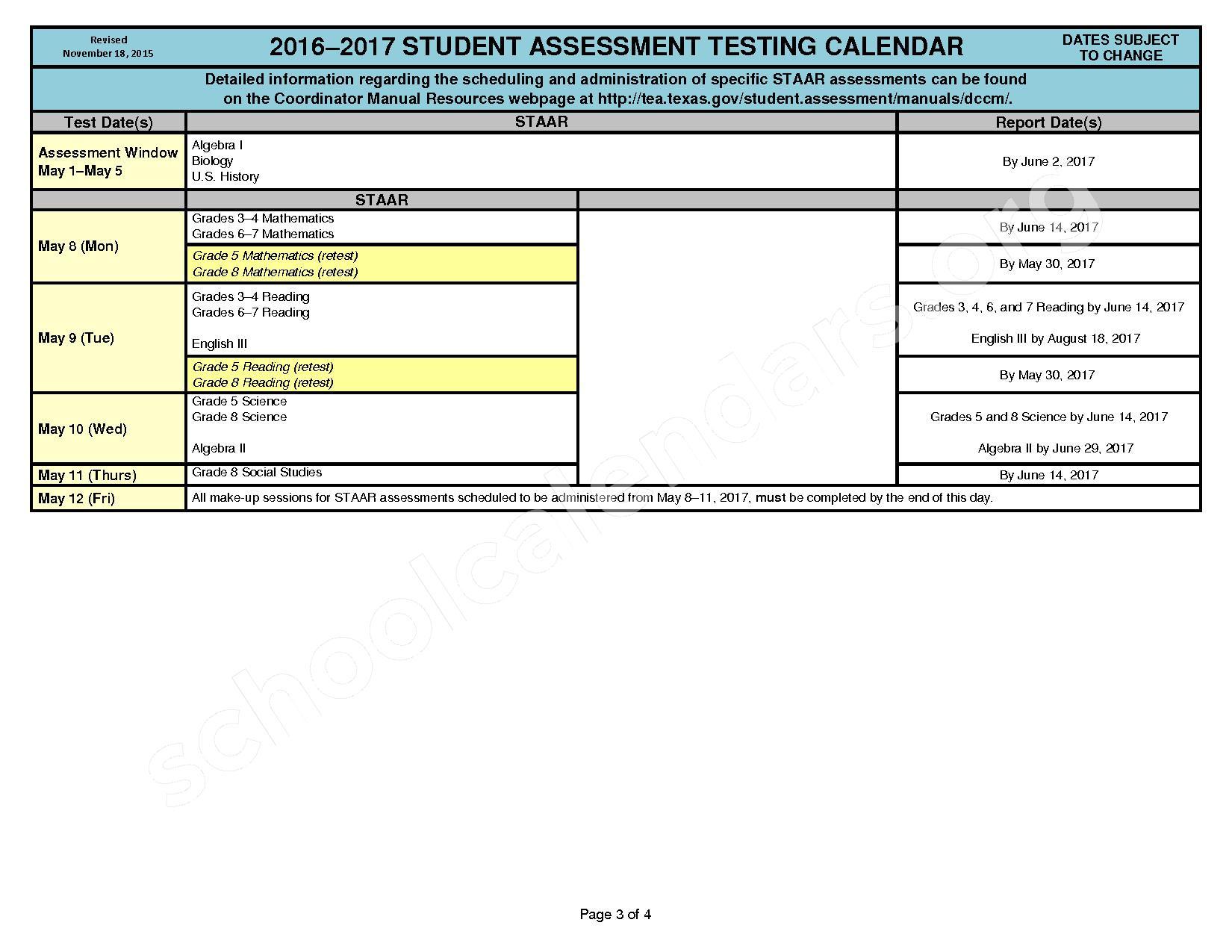 2016 - 2017 Student Assessment Calendar – Cleburne Independent School District – page 3