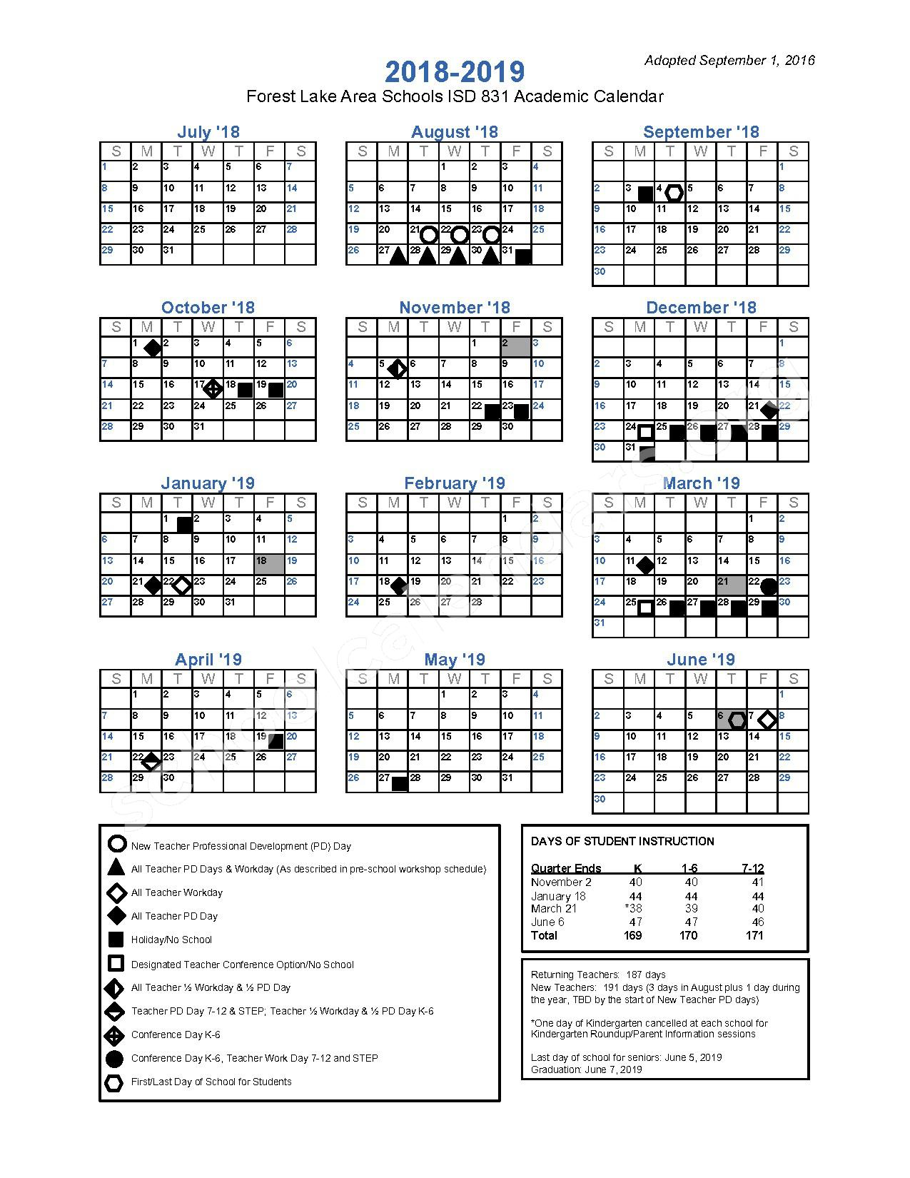 2018 - 2019 District Calendar – Forest Lake Area Schools – page 1