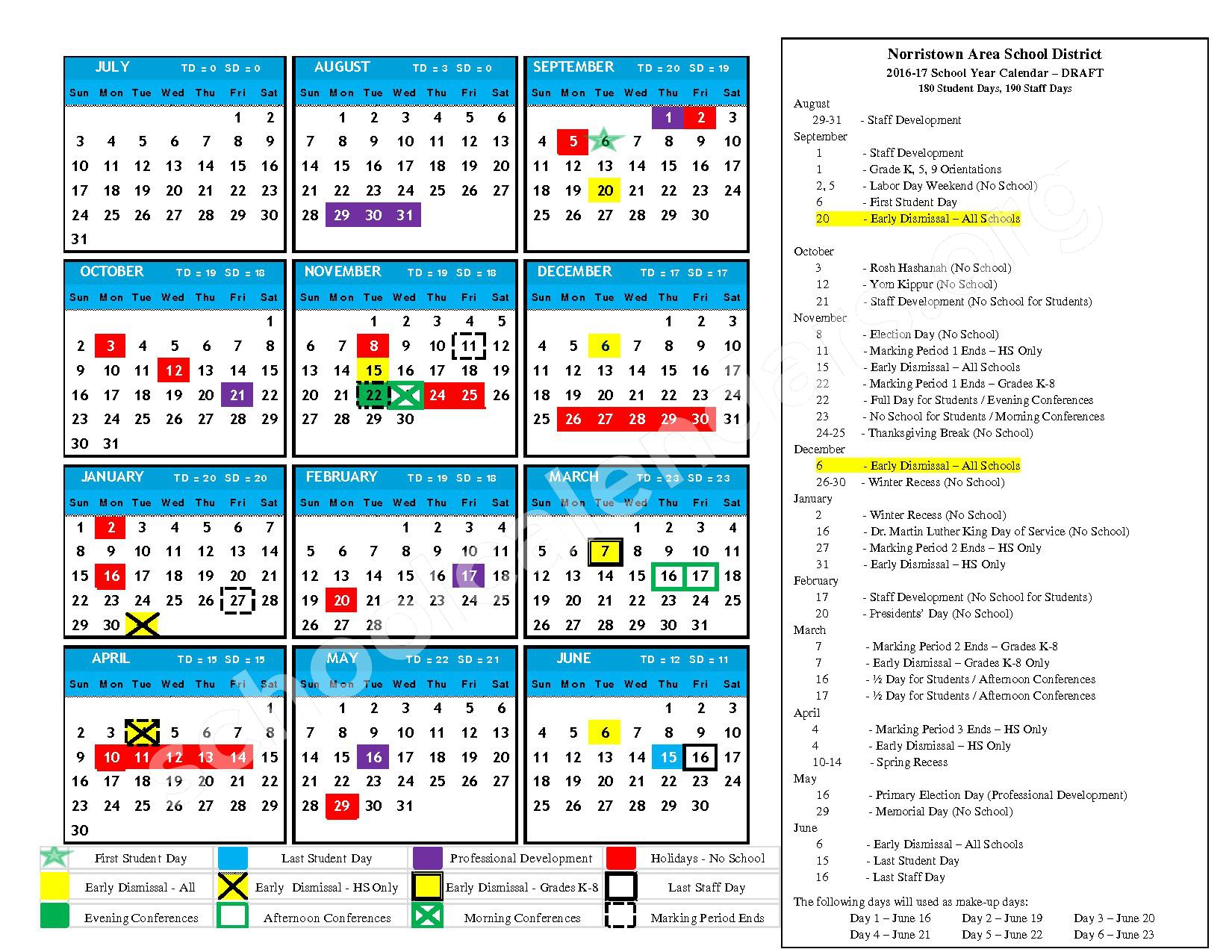 2016 - 2017 District Calendar - Modified on 6-27-16 – Marshall Street Elementary School – page 1