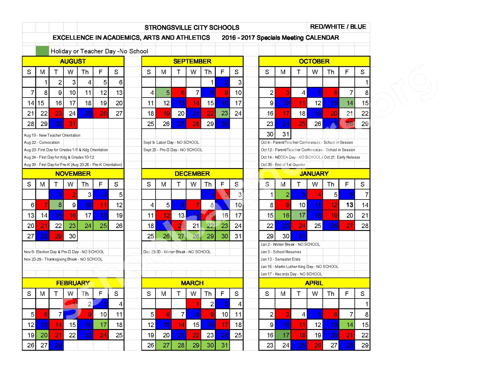 2016 - 2017 Red, White, & Blue Calendar – Strongsville City Schools – page 1
